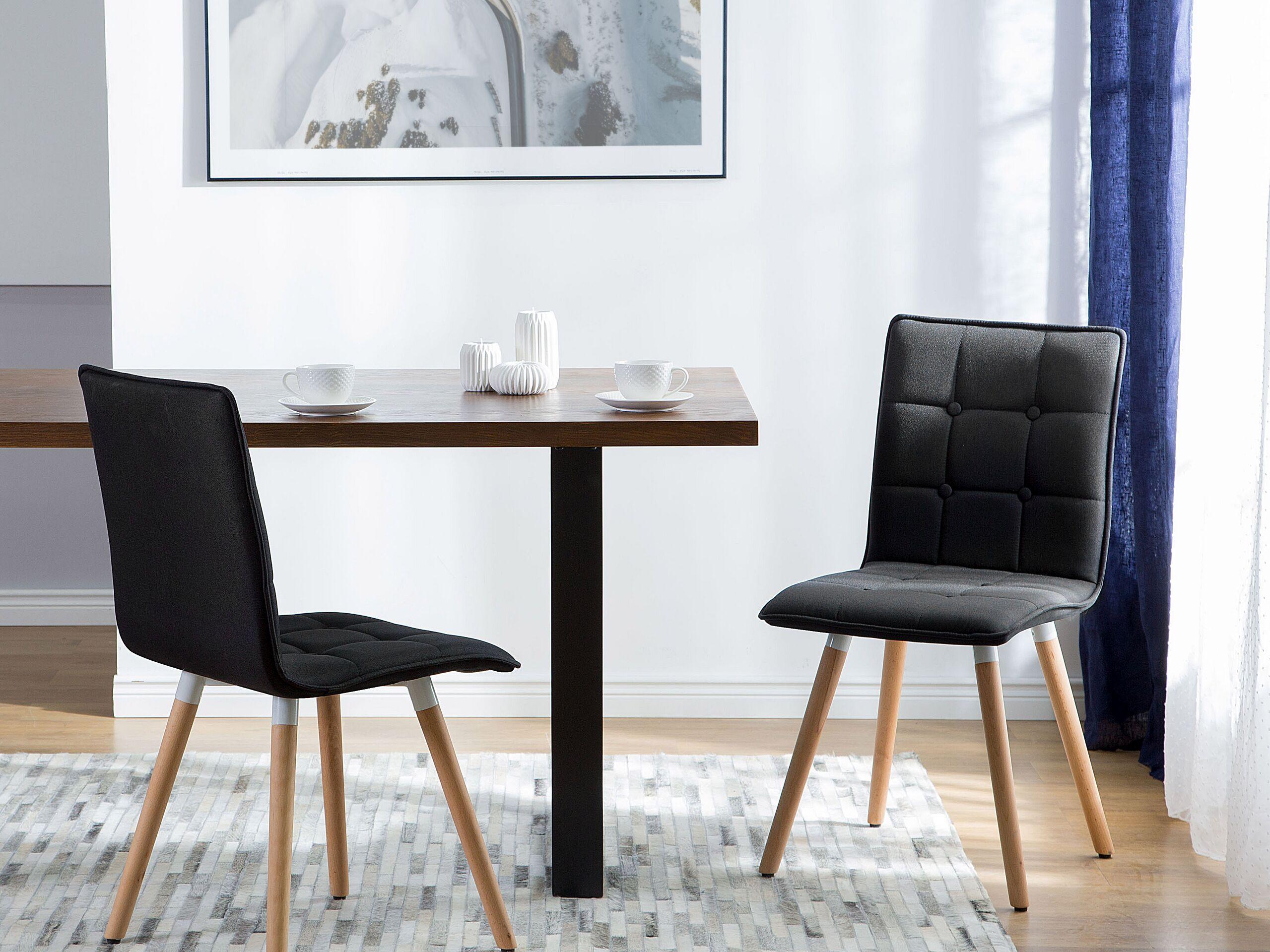 Lot de 2 chaises en tissu noir