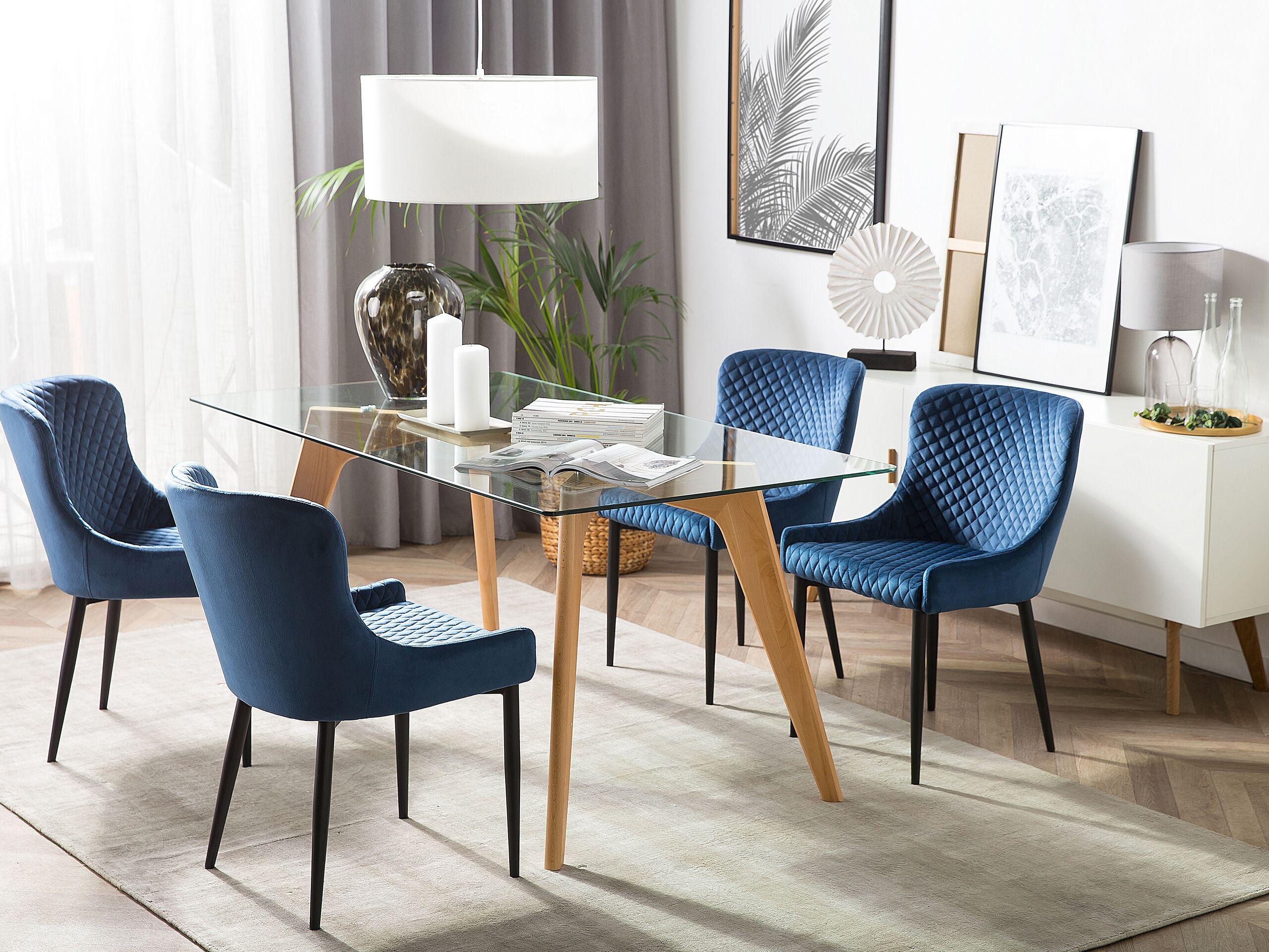 Lot de 2 chaises en velours bleu