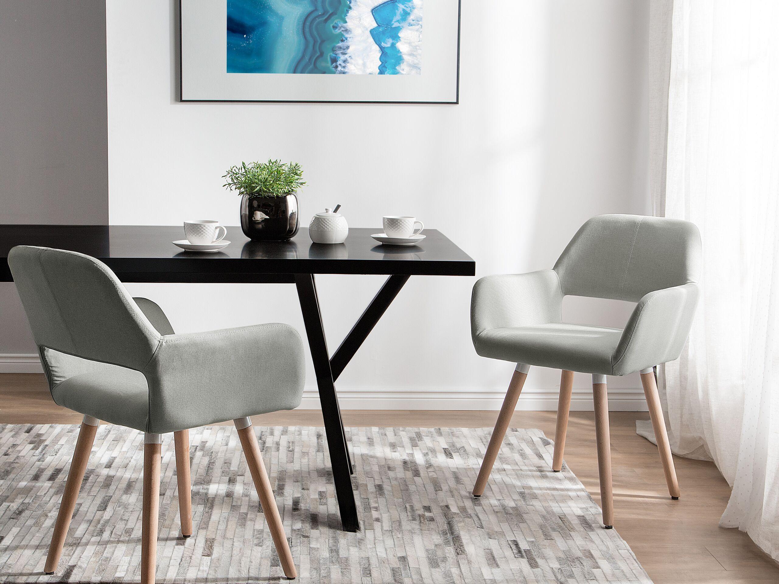Lot de 2 chaises de salle à manger grises claires