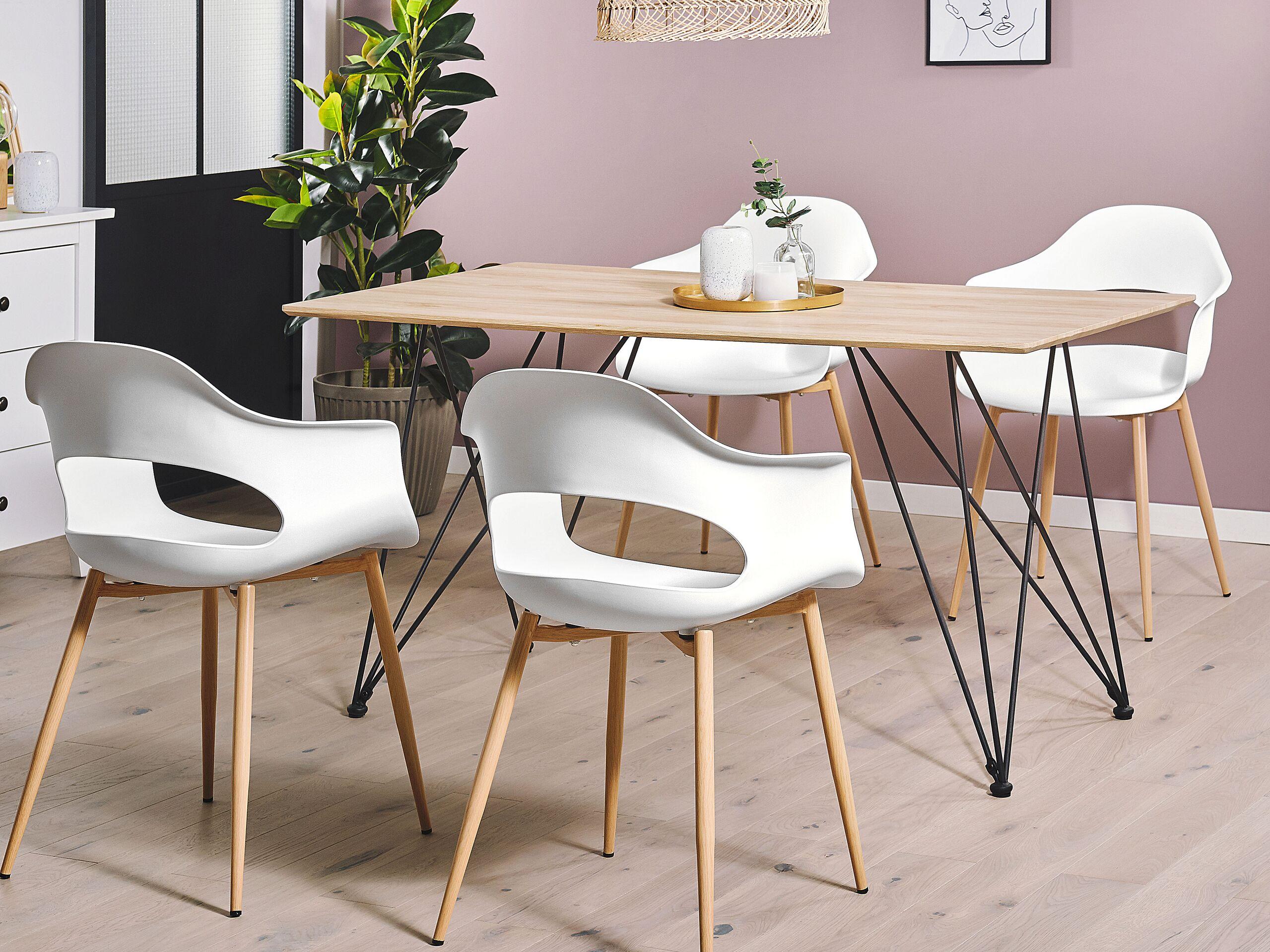 Set de 2 chaises de salle à manger blanches