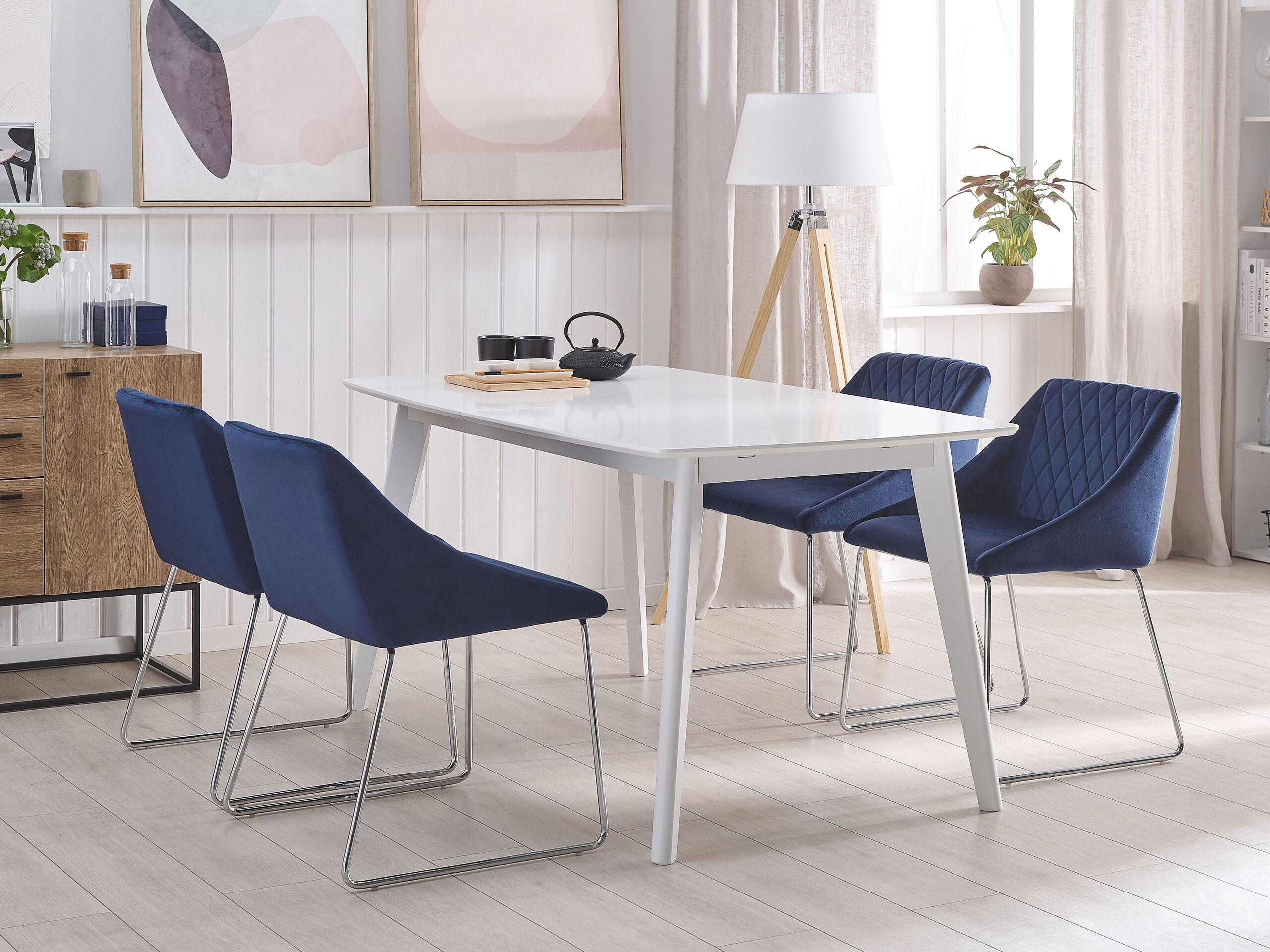 Lot de 2 chaises de salle à manger en velours bleu marine