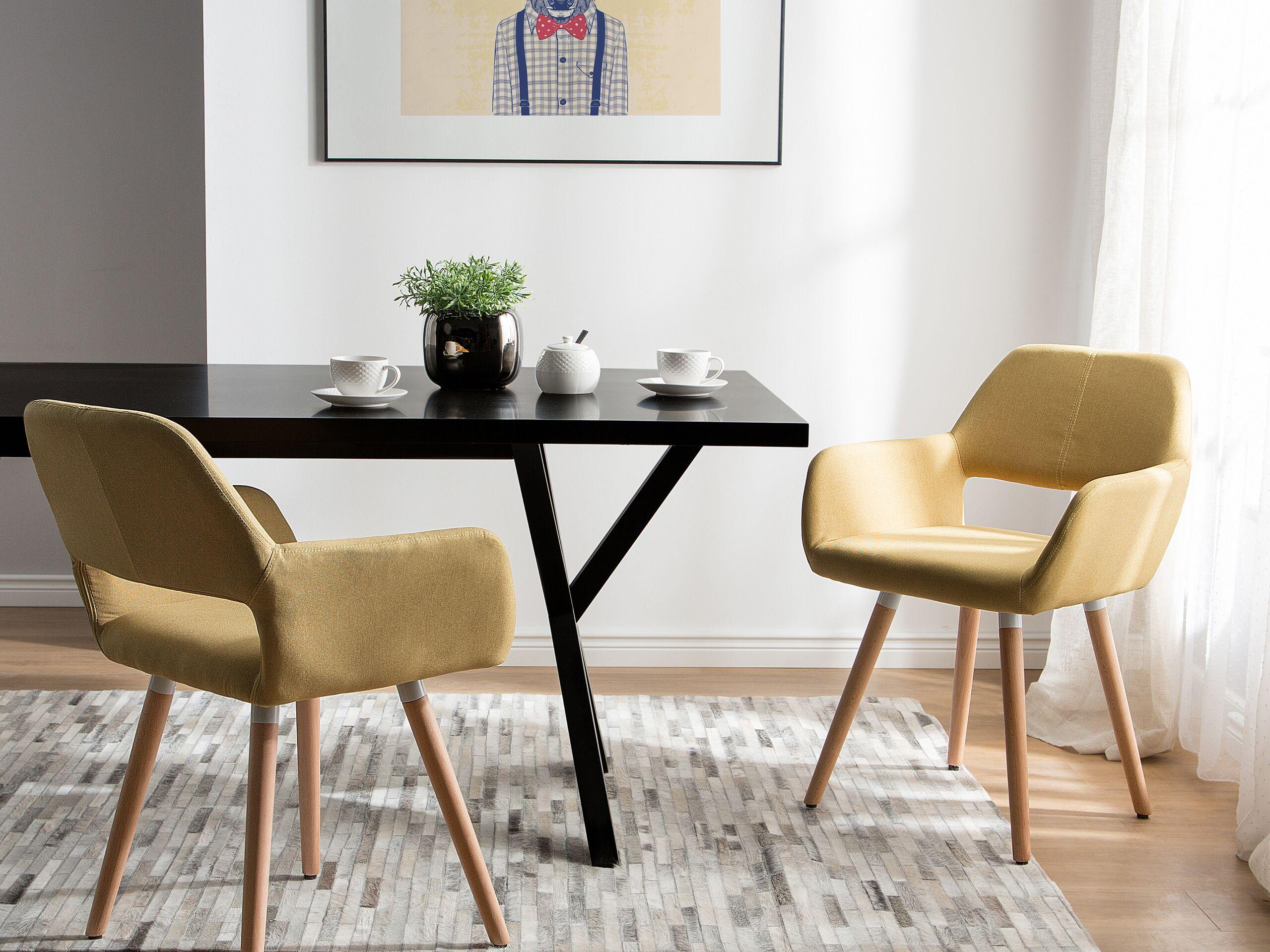 Lot de 2 chaises de salle à manger jaune