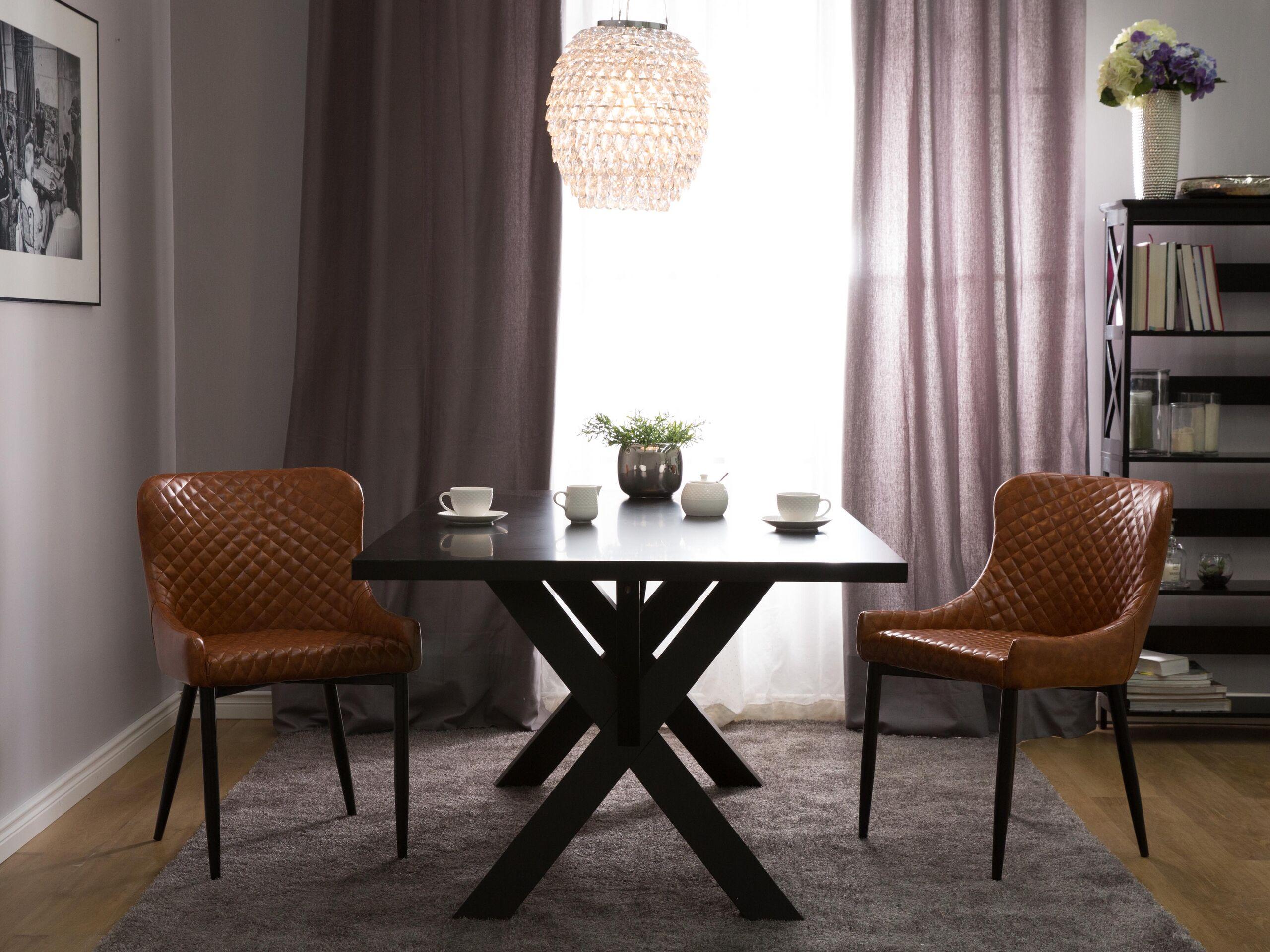 Lot de 2 chaises en simili-cuir marron
