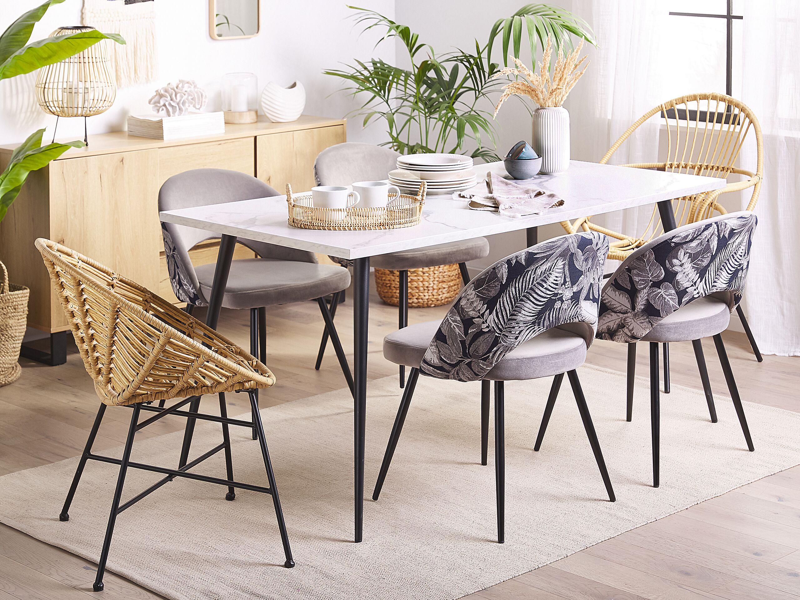 Lot de 2 chaises de salle à manger en velours gris