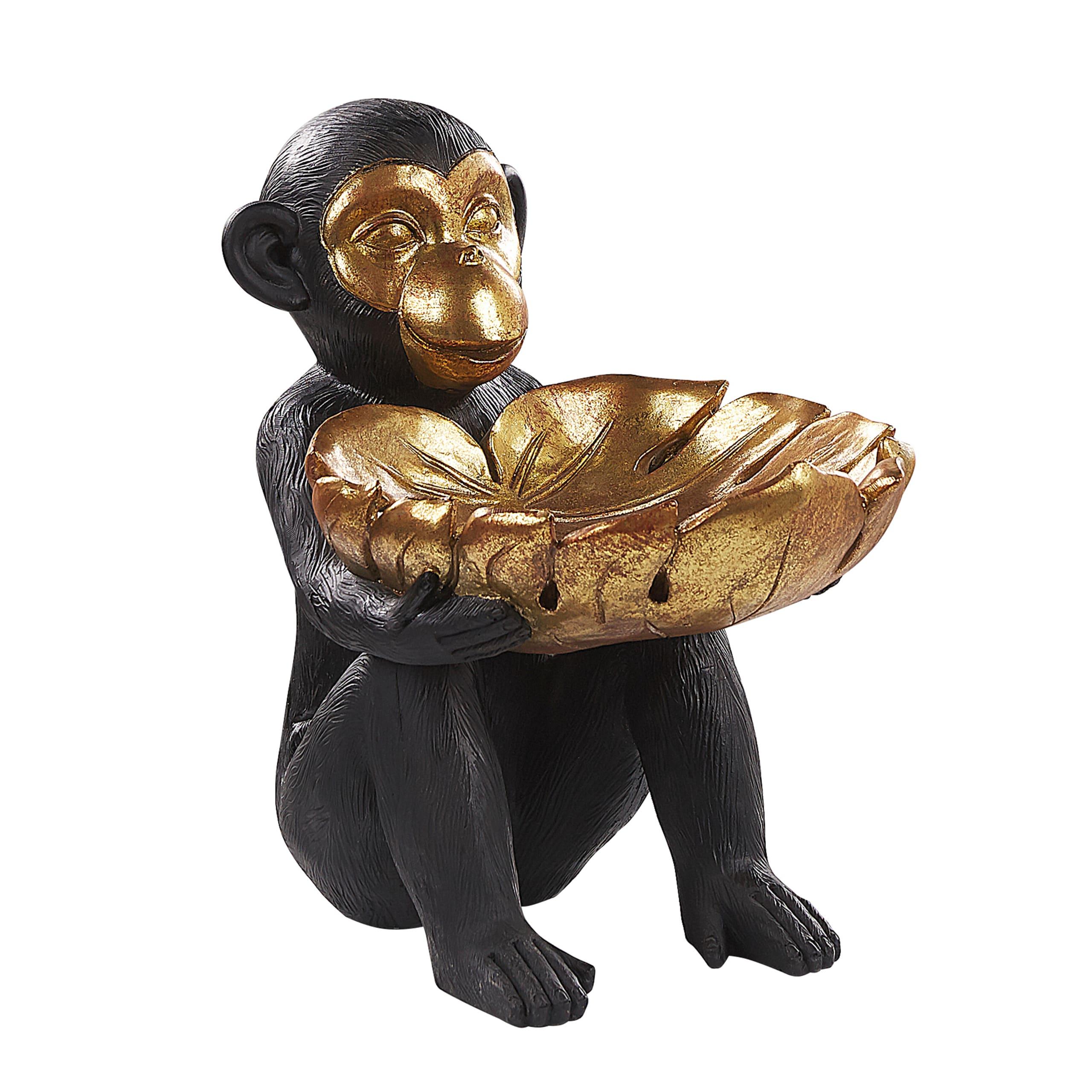 Figurine décorative singe noir et doré