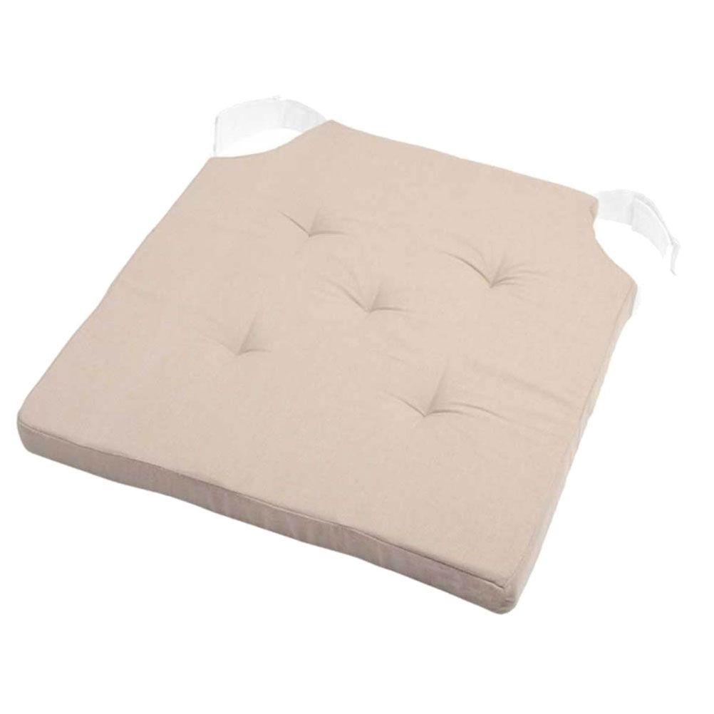 Coussin de chaise reversible lin et beige 38x38