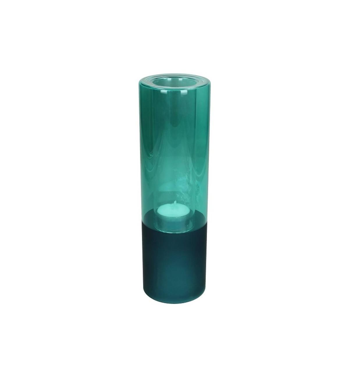 Photophore en verre bleu H25cm
