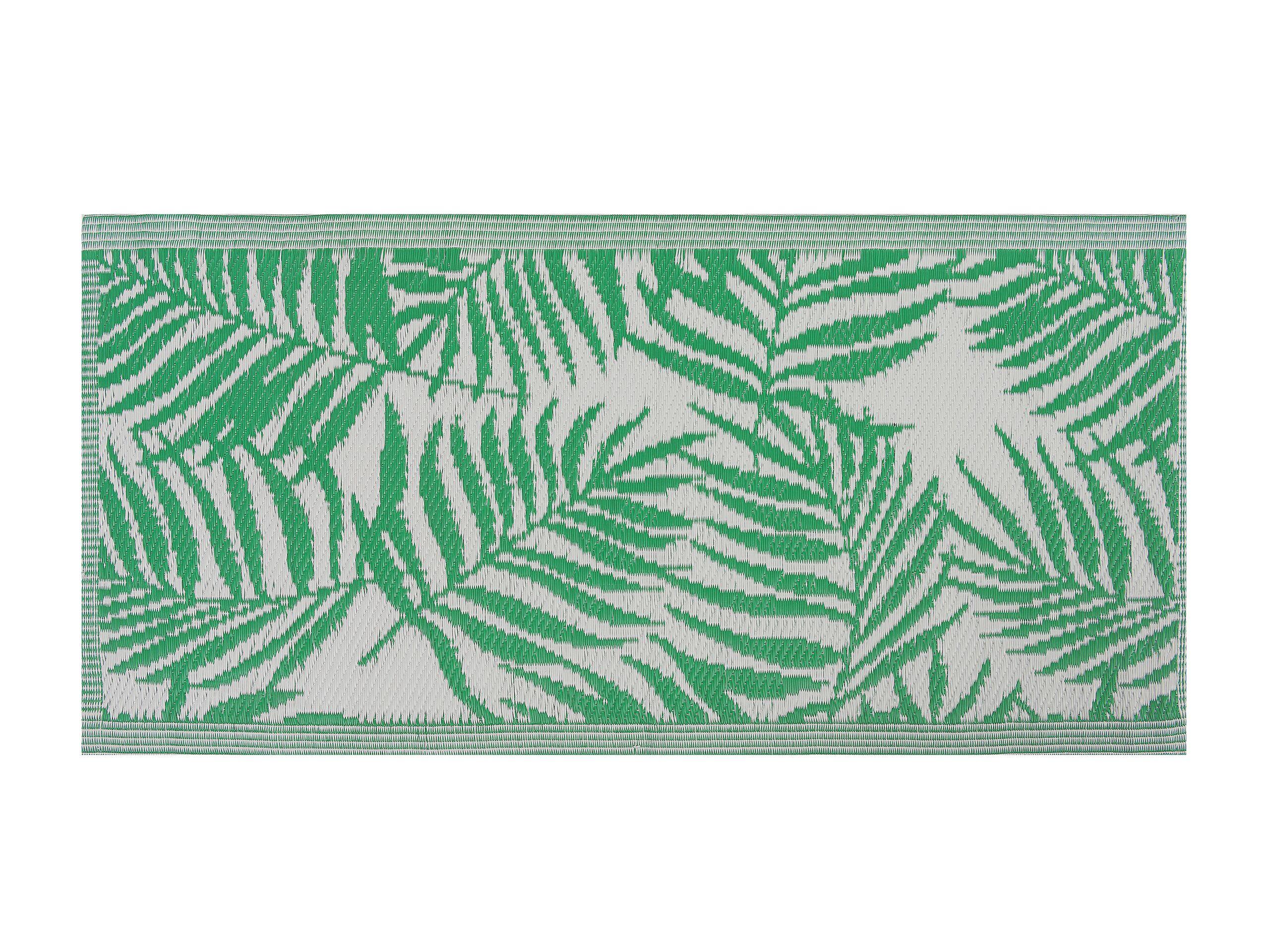 Tapis extérieur vert au motif feuilles de palmier 60 x 105 cm