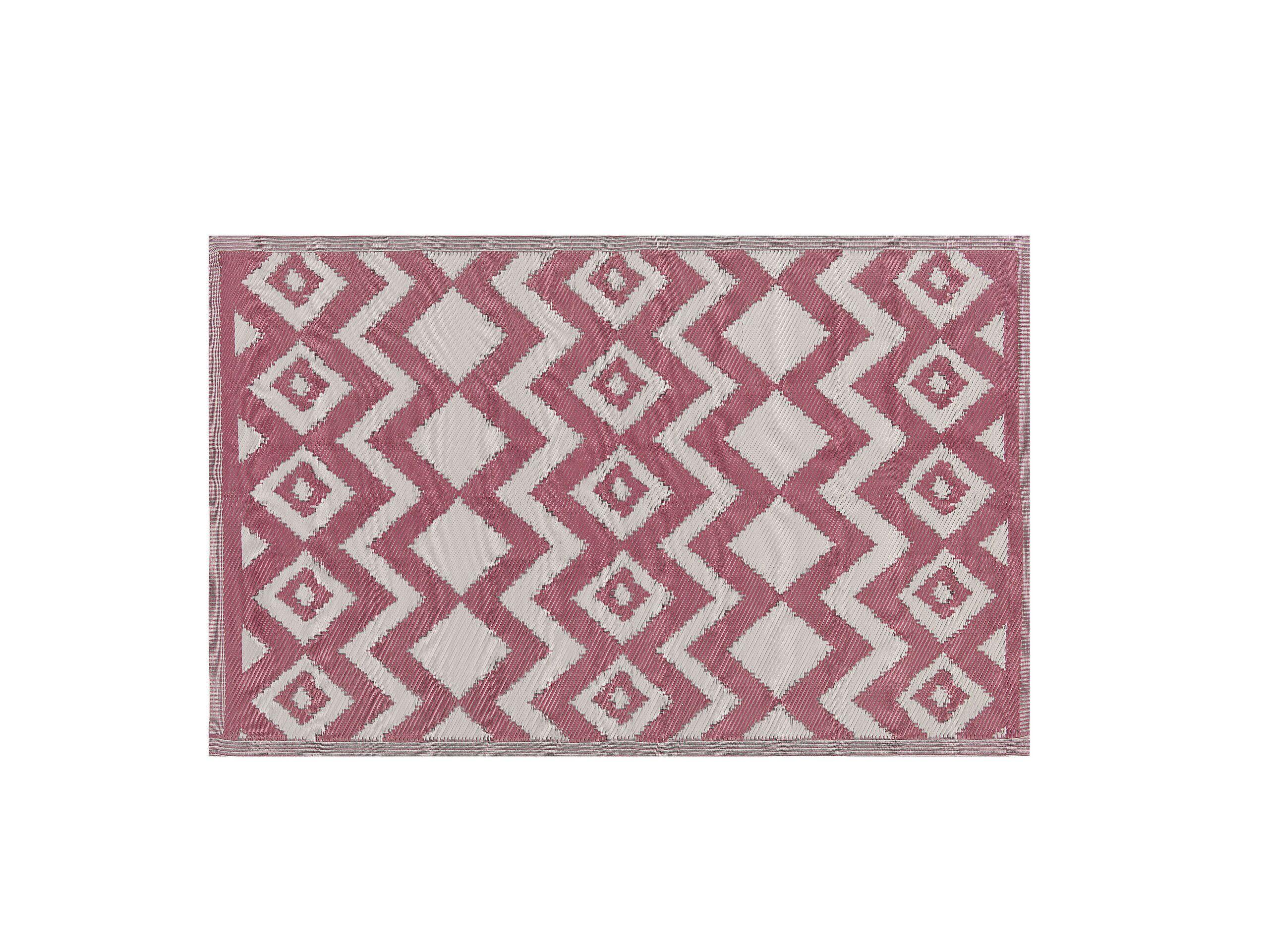 Tapis extérieur au motif zigzag rose 180 x 270 cm