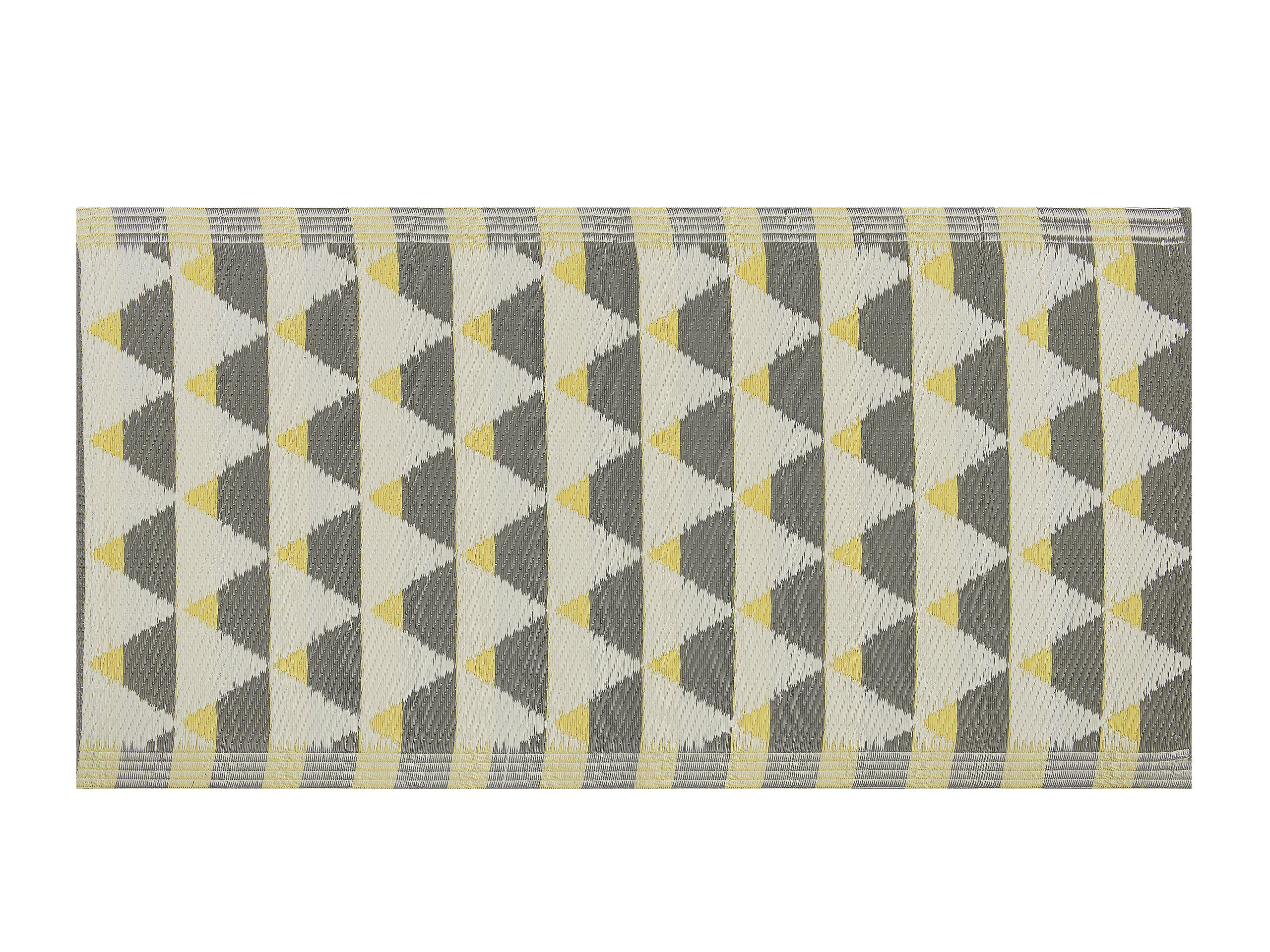 Tapis extérieur au motif triangles gris et jaunes 60 x 105 cm