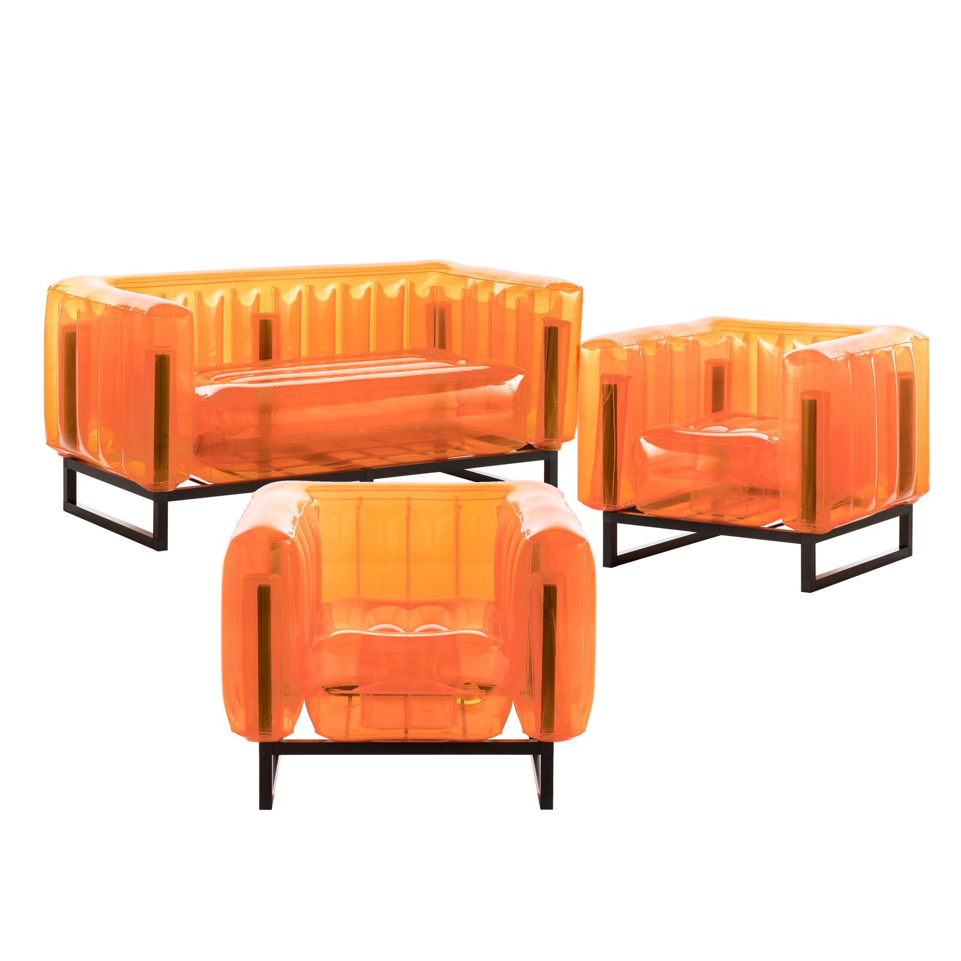 Salon de jardin design 1 canapé et 2 fauteuils oranges cadre aluminium