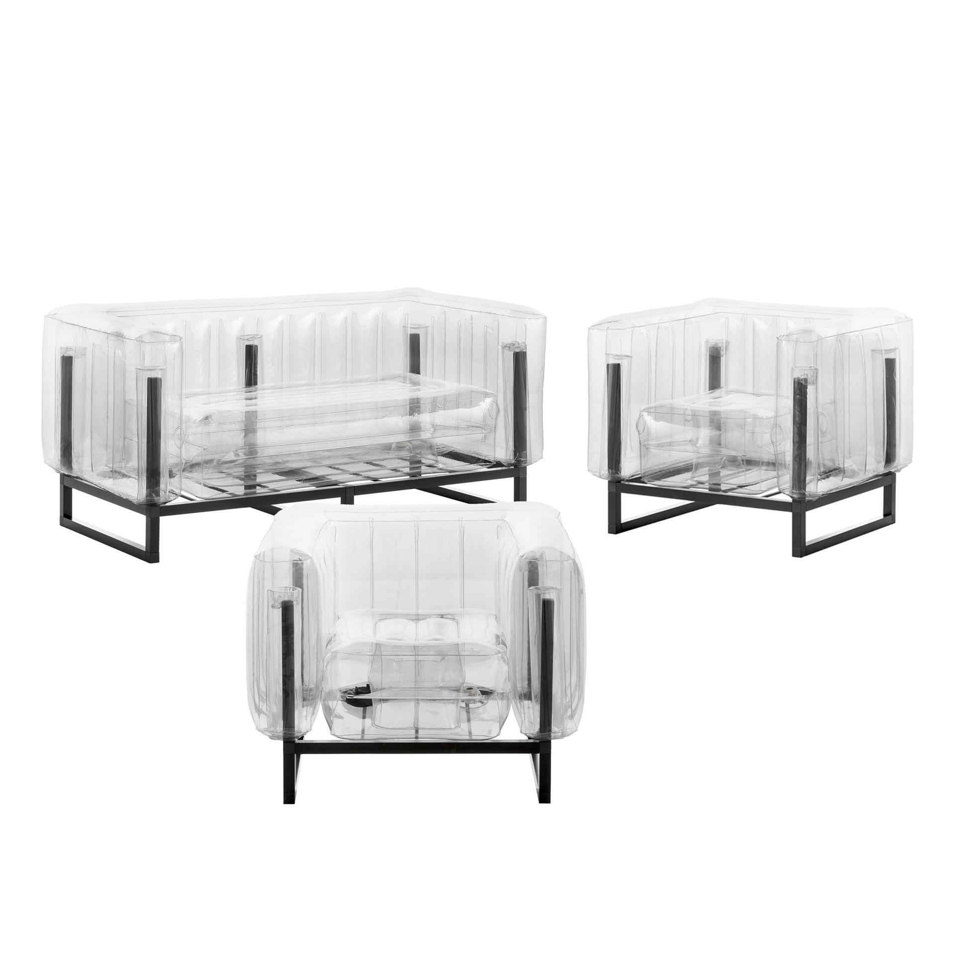 Salon de jardin design 1 canapé et 2 fauteuils transparents