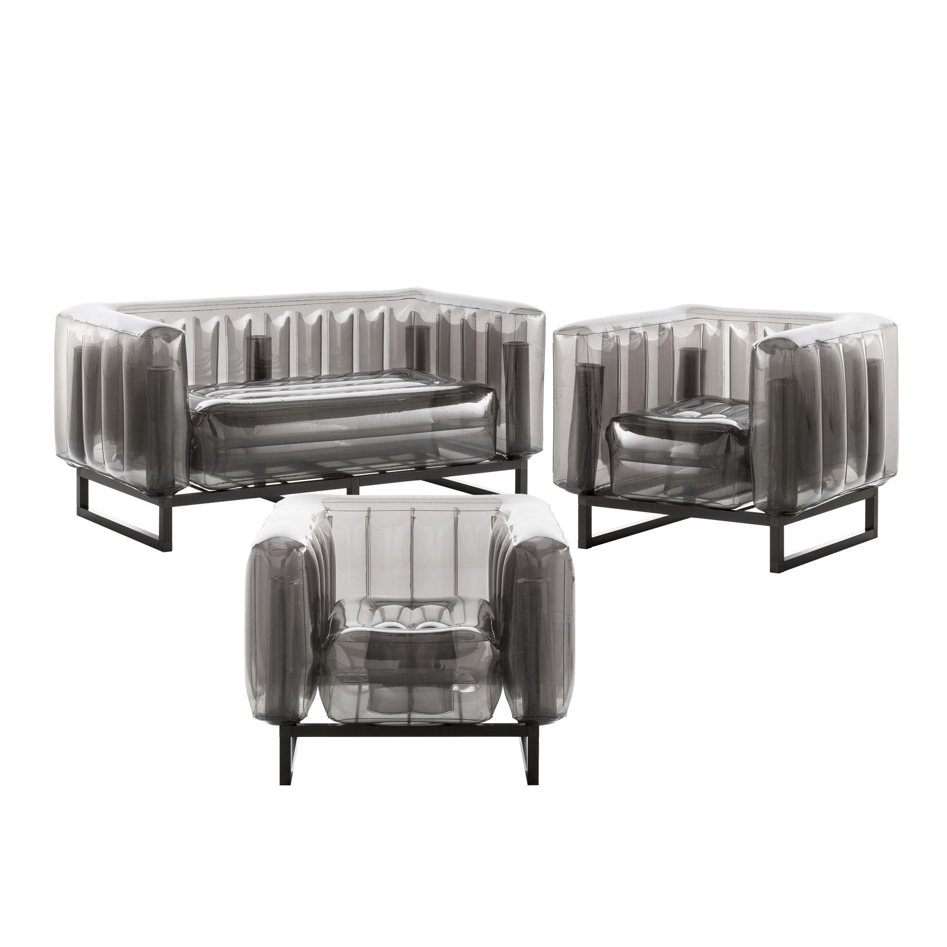 Salon de jardin design 1 canapé et 2 fauteuils noirs cadre aluminium