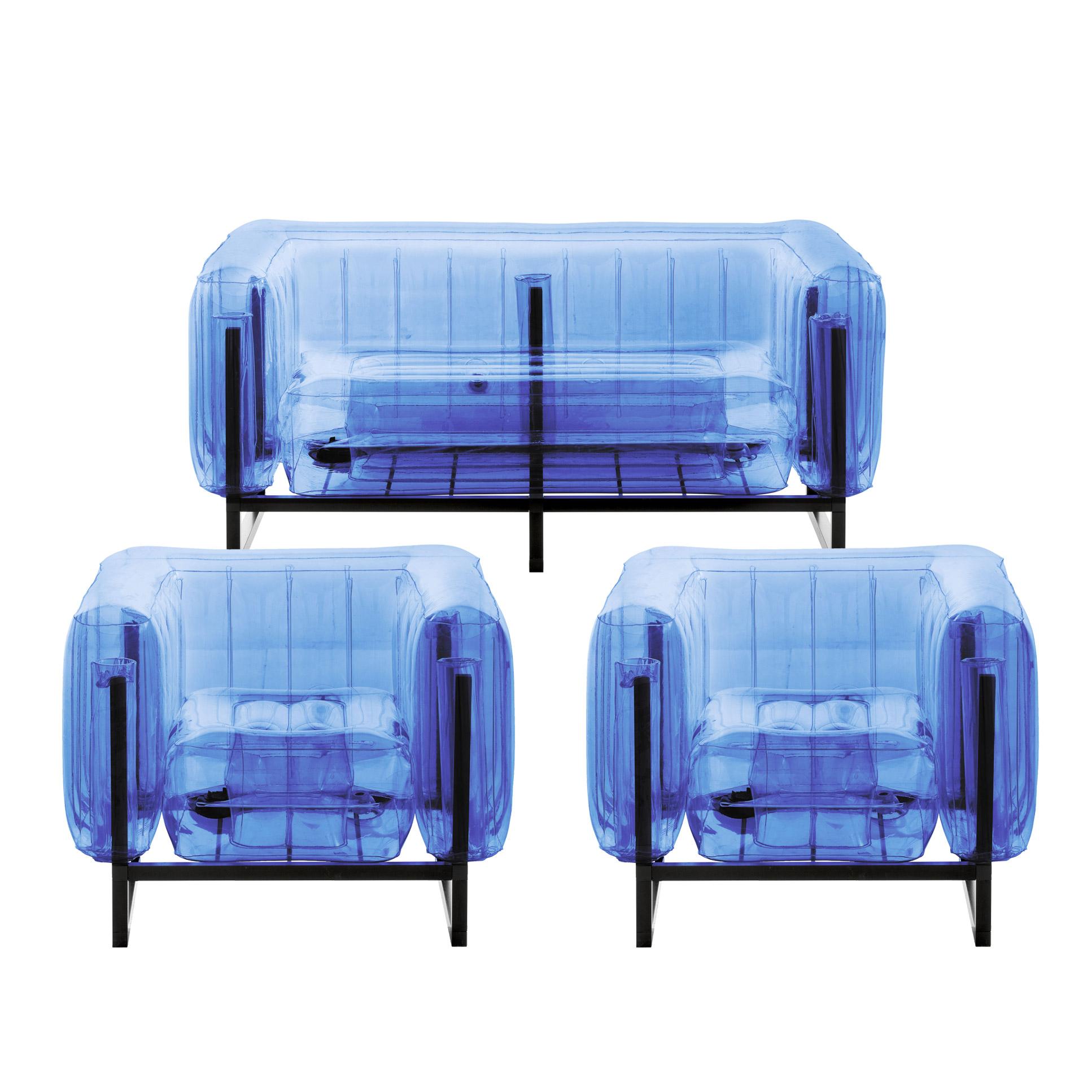 Salon de jardin design 1 canapé et 2 fauteuils bleus cadre aluminium