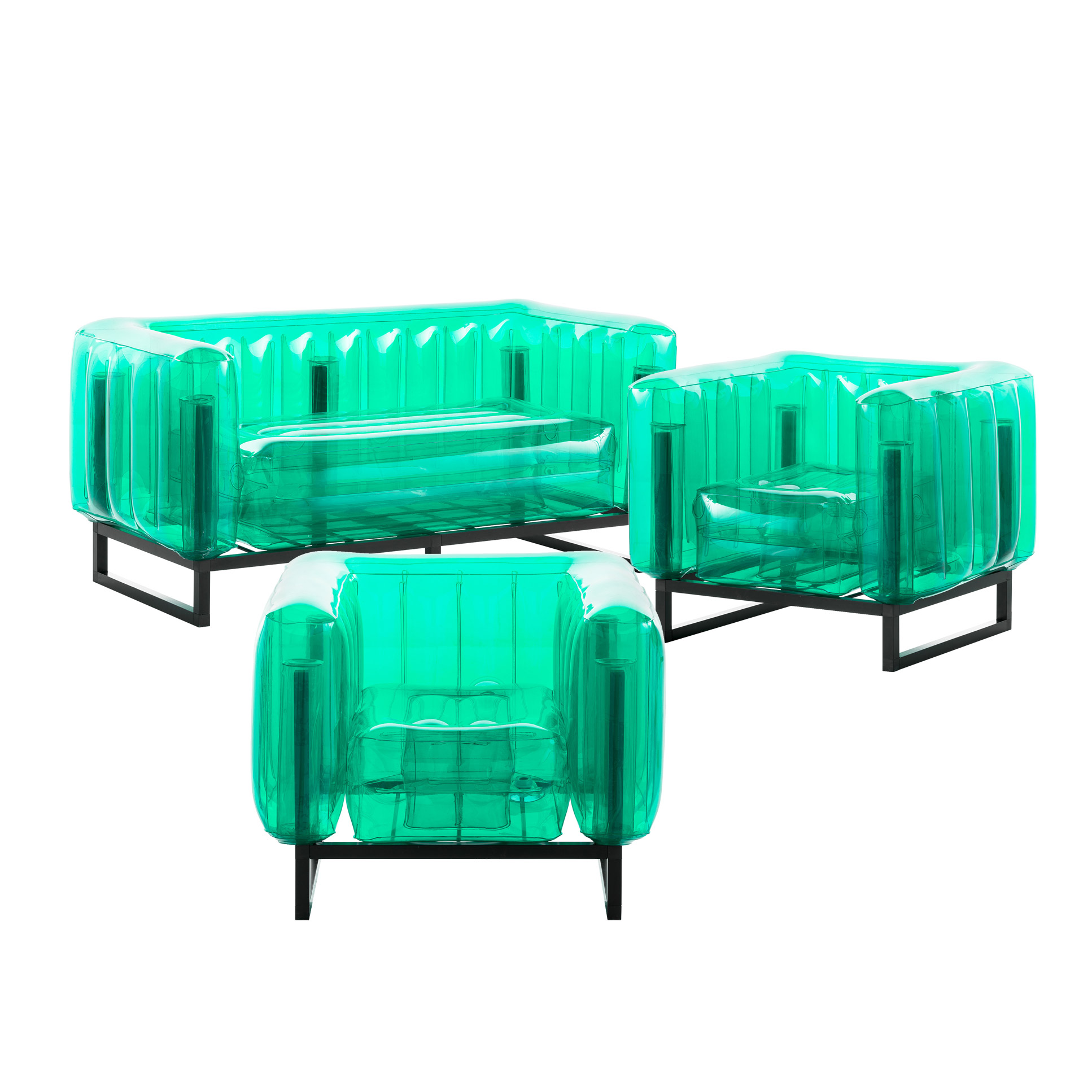 Salon de jardin design 1 canapé et 2 fauteuils verts cadre aluminium
