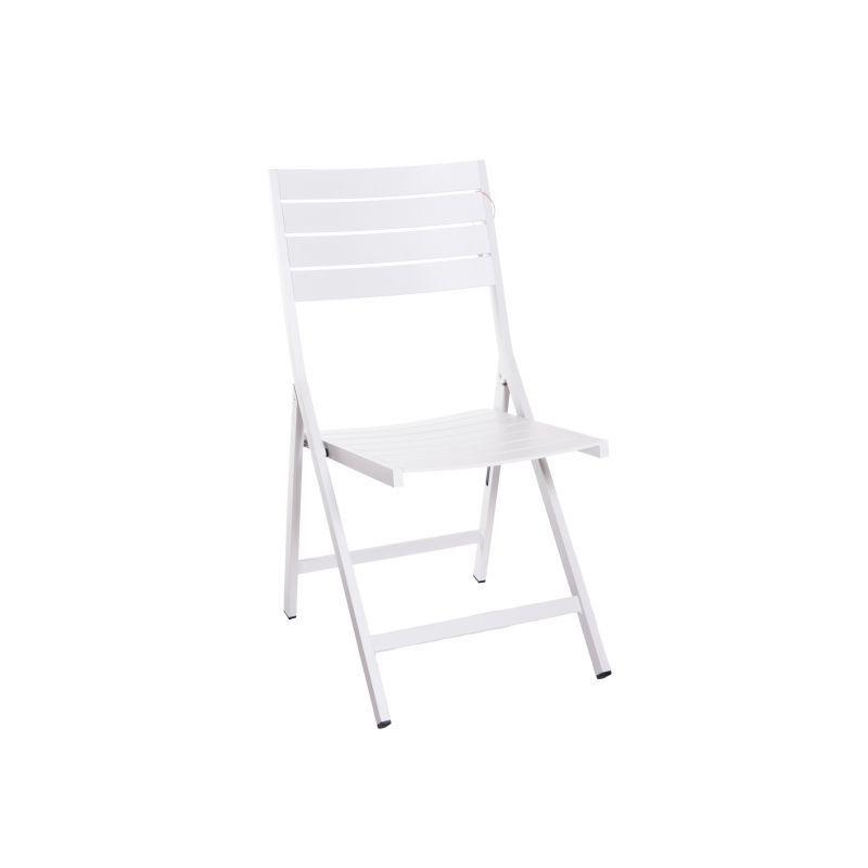 Chaise pliante en aluminium gris clair