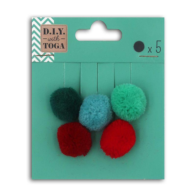 5 pompons en laine rouge et vert 2cm