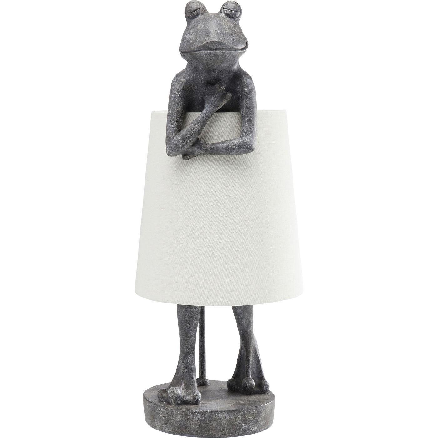 Lampe grenouille grise en polyrésine et abat-jour en lin