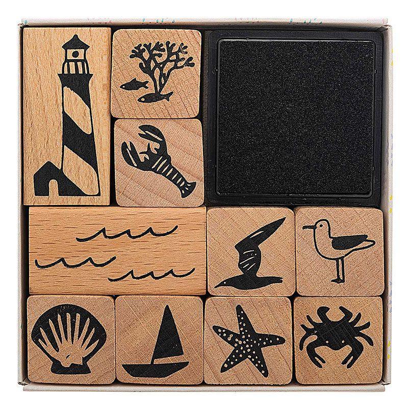 10 tampons en bois avec encreur vacances à la mer