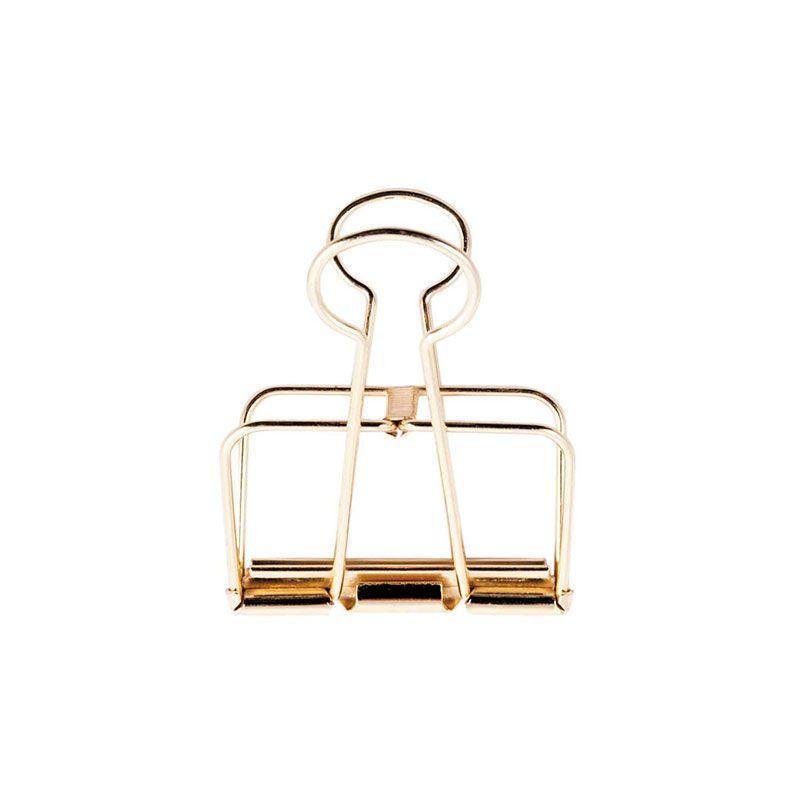 Pinces double-clip doré 19mm - Lot de 6