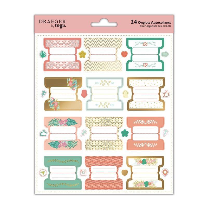 Stickers onglets autocollants pastel et dorés pour carnets