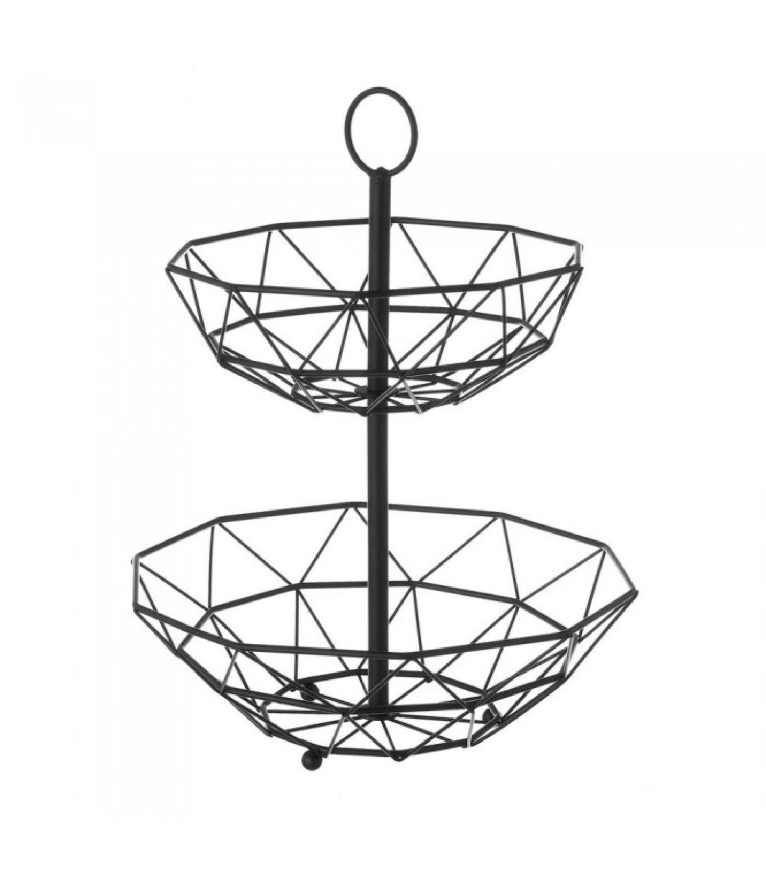 Corbeille à fruits décorative en métal noir géométrique 2 étages