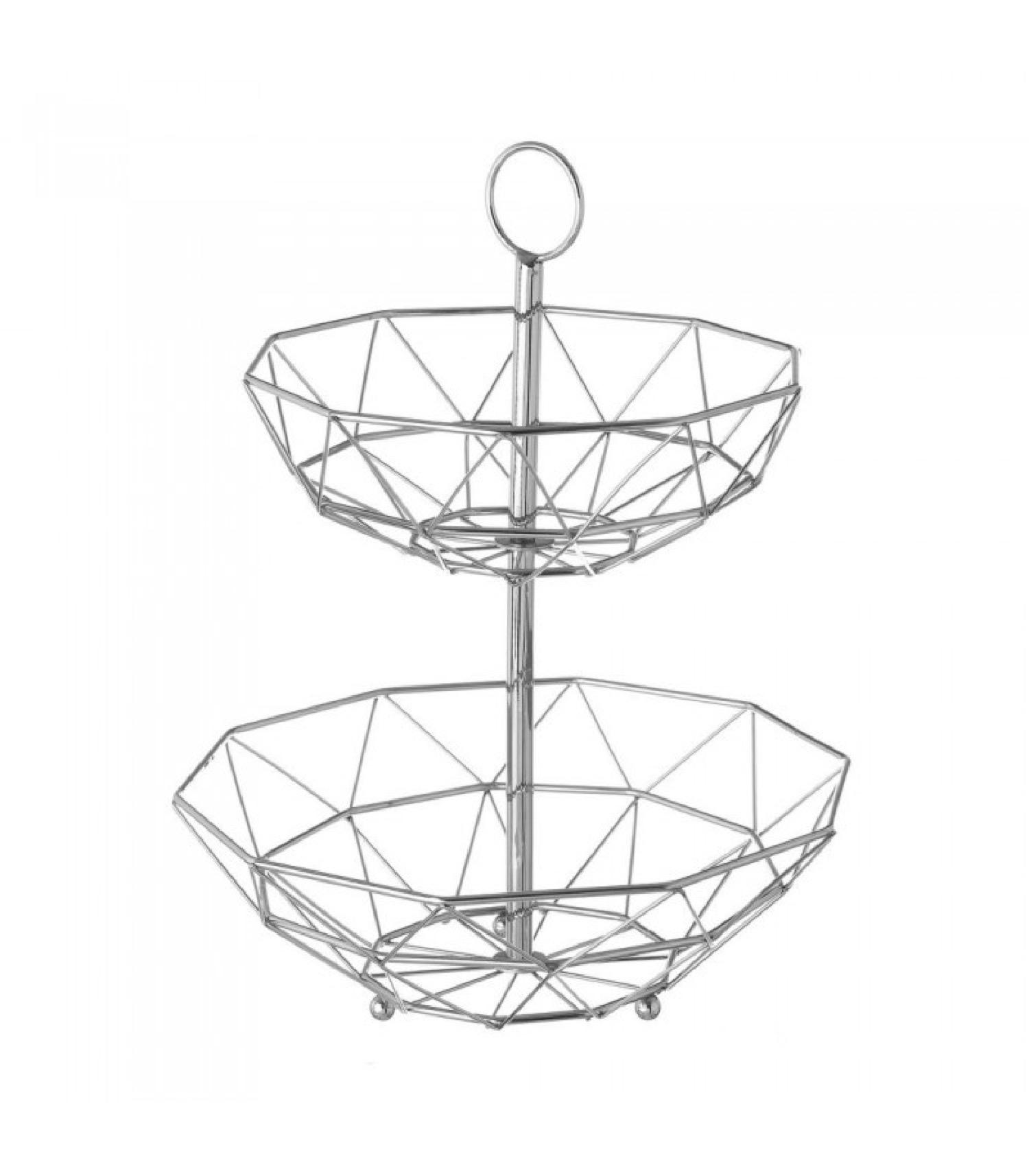 Corbeille à fruits décorative en métal chromé géométrique 2 étages