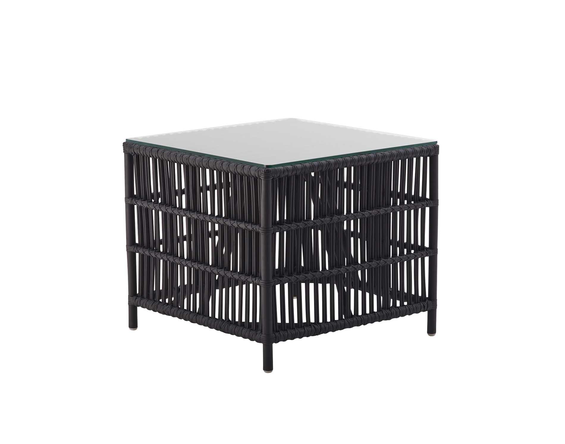 Tables basse carrée en rotin noir mat