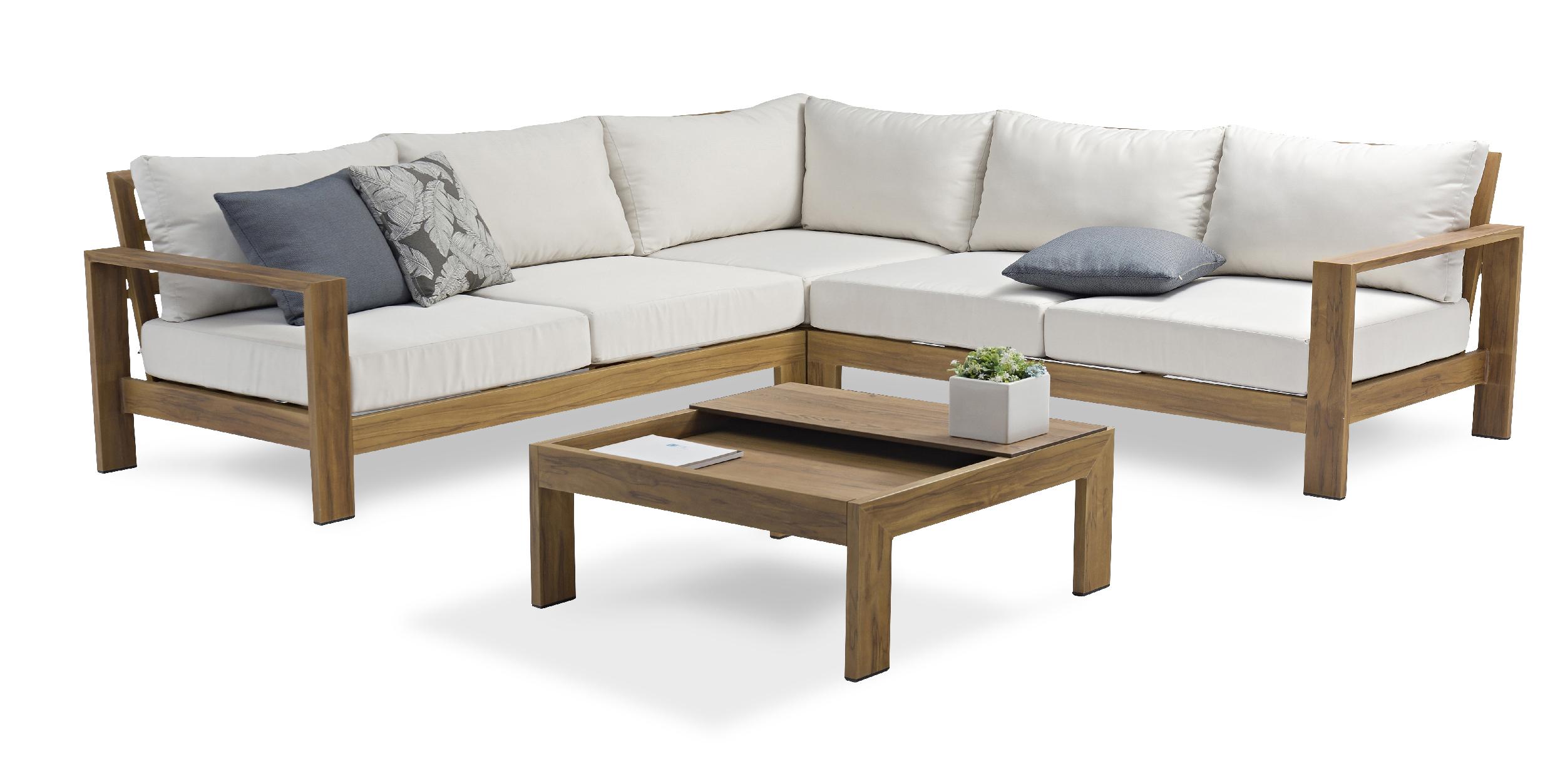 Salon de jardin 5 places en aluminium effet bois