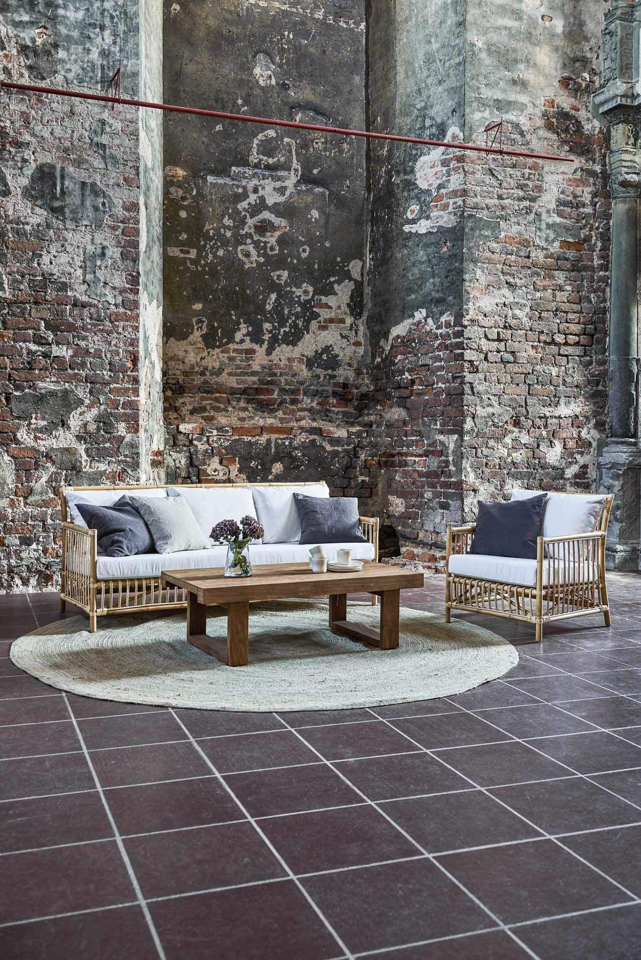 Table basse rectangulaire en teck rustique