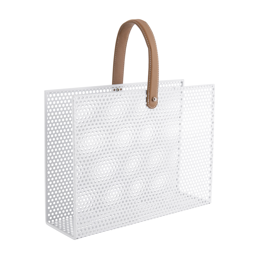 Porte revues en métal blanc