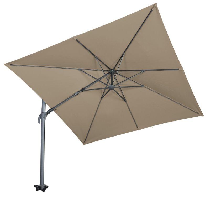 Parasol déporté inclinable taupe 3x3m