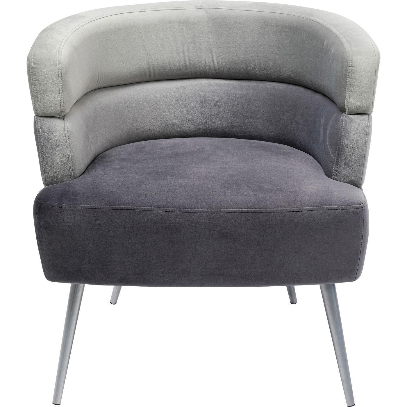 Fauteuil en velours gris et acier chromé