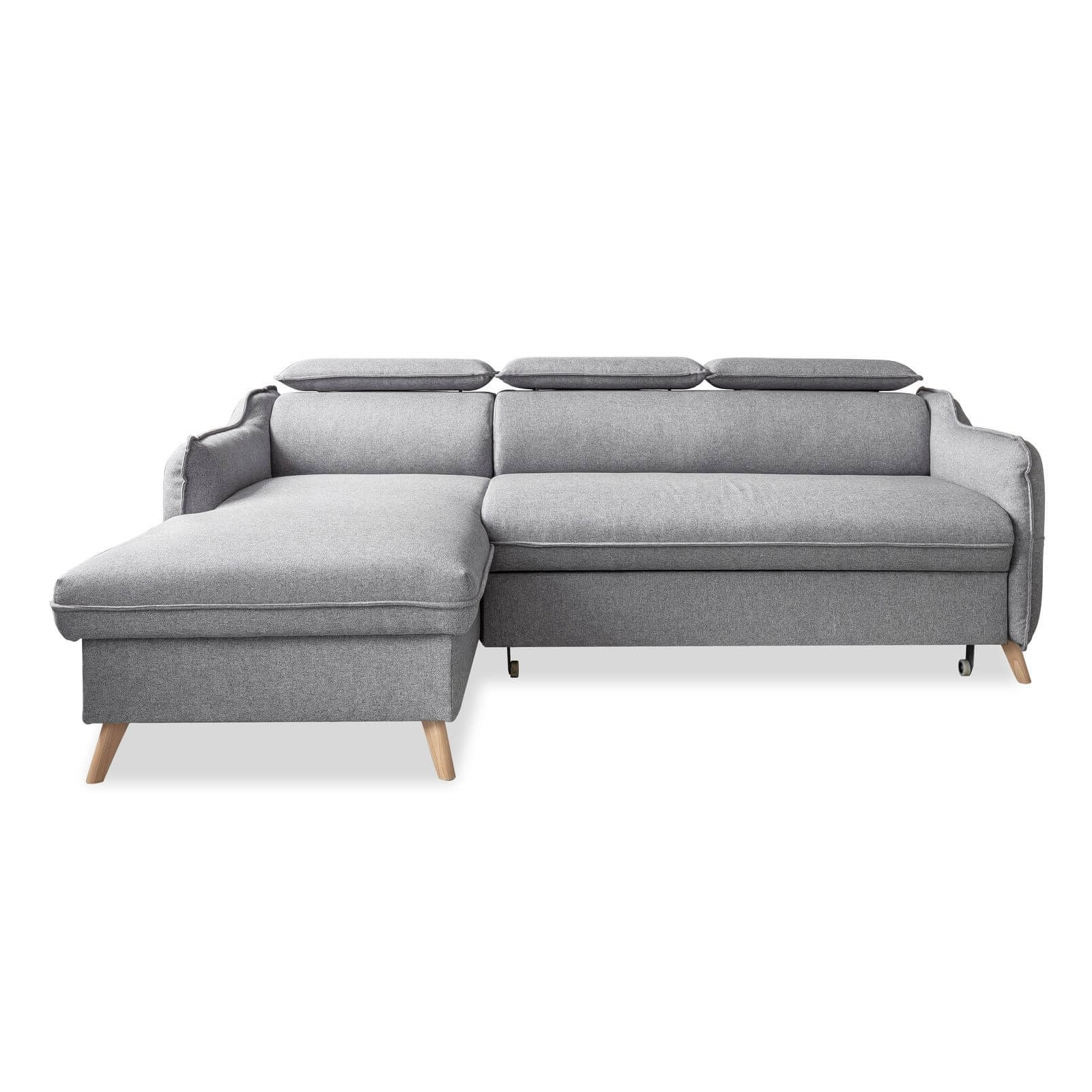 Canapé d'angle 4 places Gris Tissu Contemporain Confort