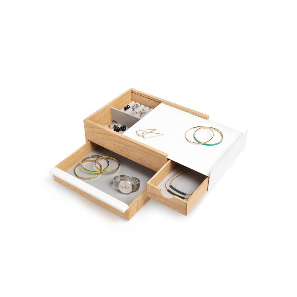 Grande boîte à bijoux en bois naturel et métal blanc