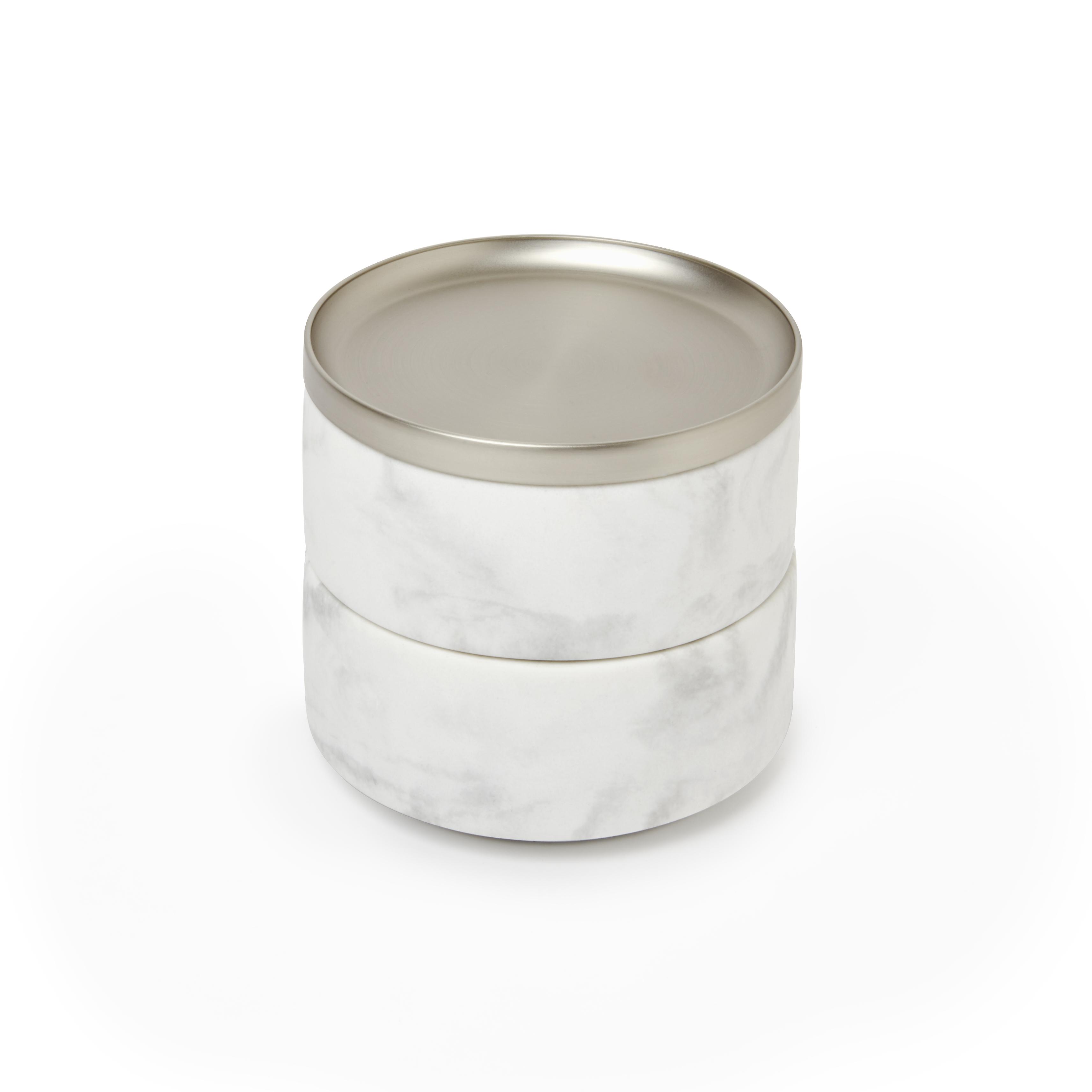 Boîte à bijoux 2 compartiments en résine marbrée et nickel