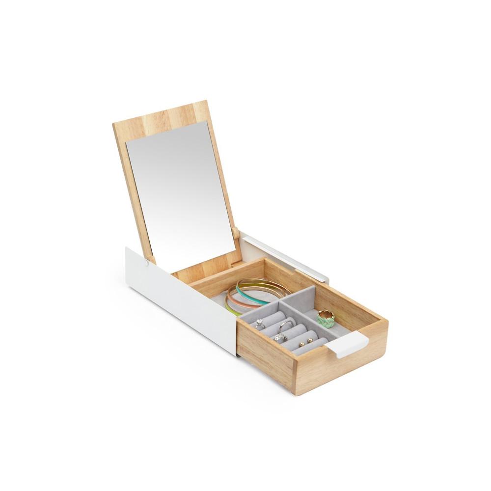 Boîte à bijoux avec miroir intégré en bois naturel et métal blanc