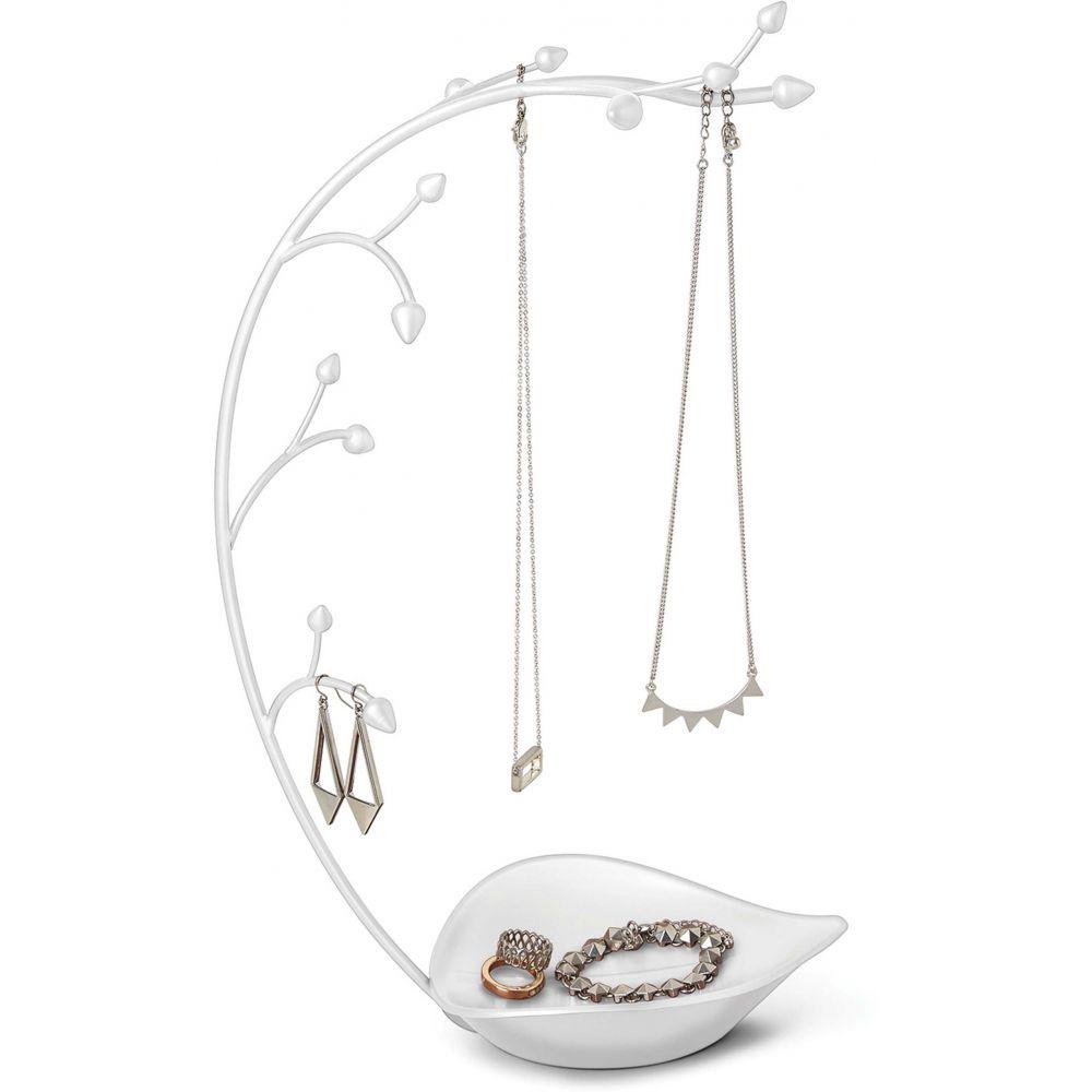 Arbre à bijoux en métal blanc