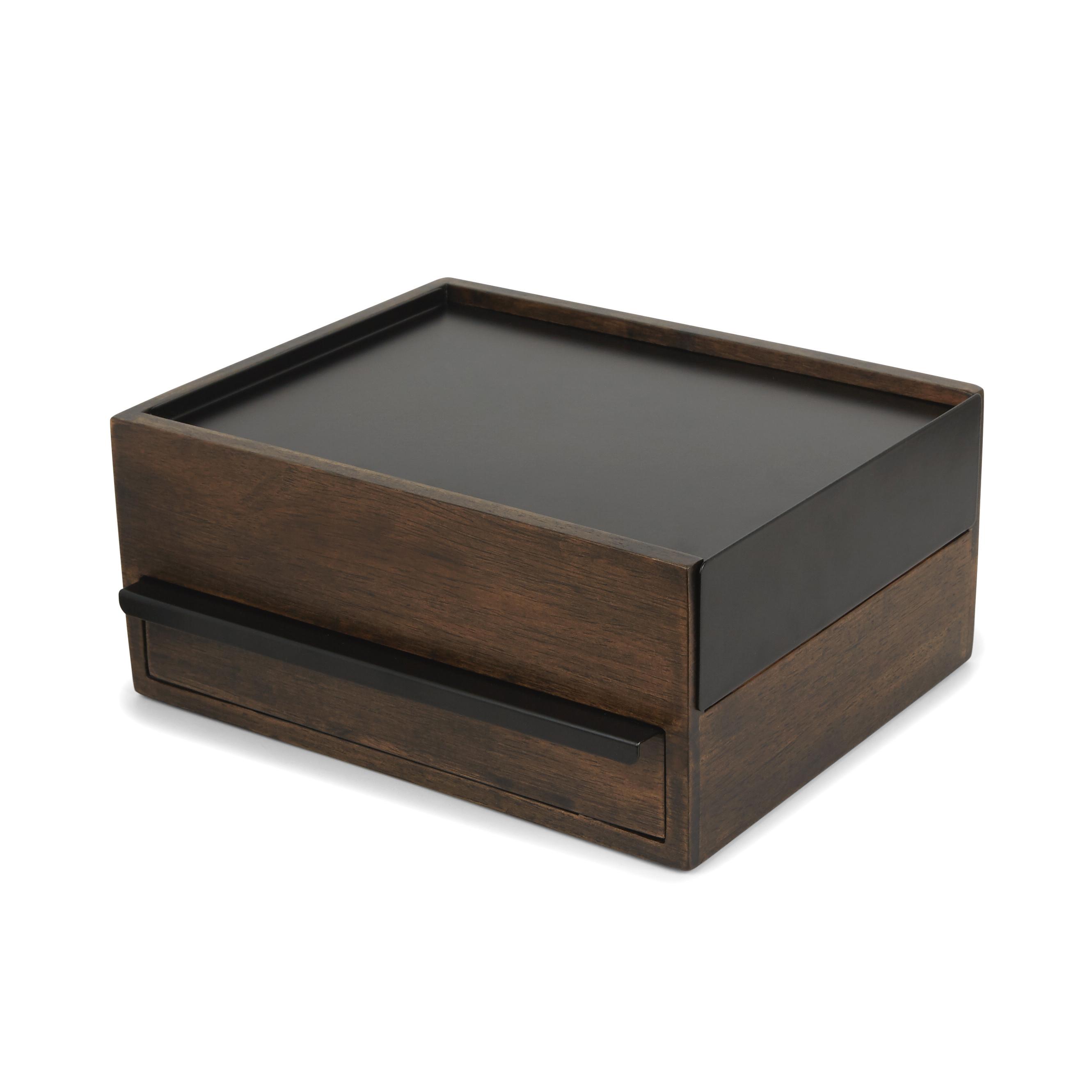 Grande boîte à bijoux en bois coloris noyer et métal noir