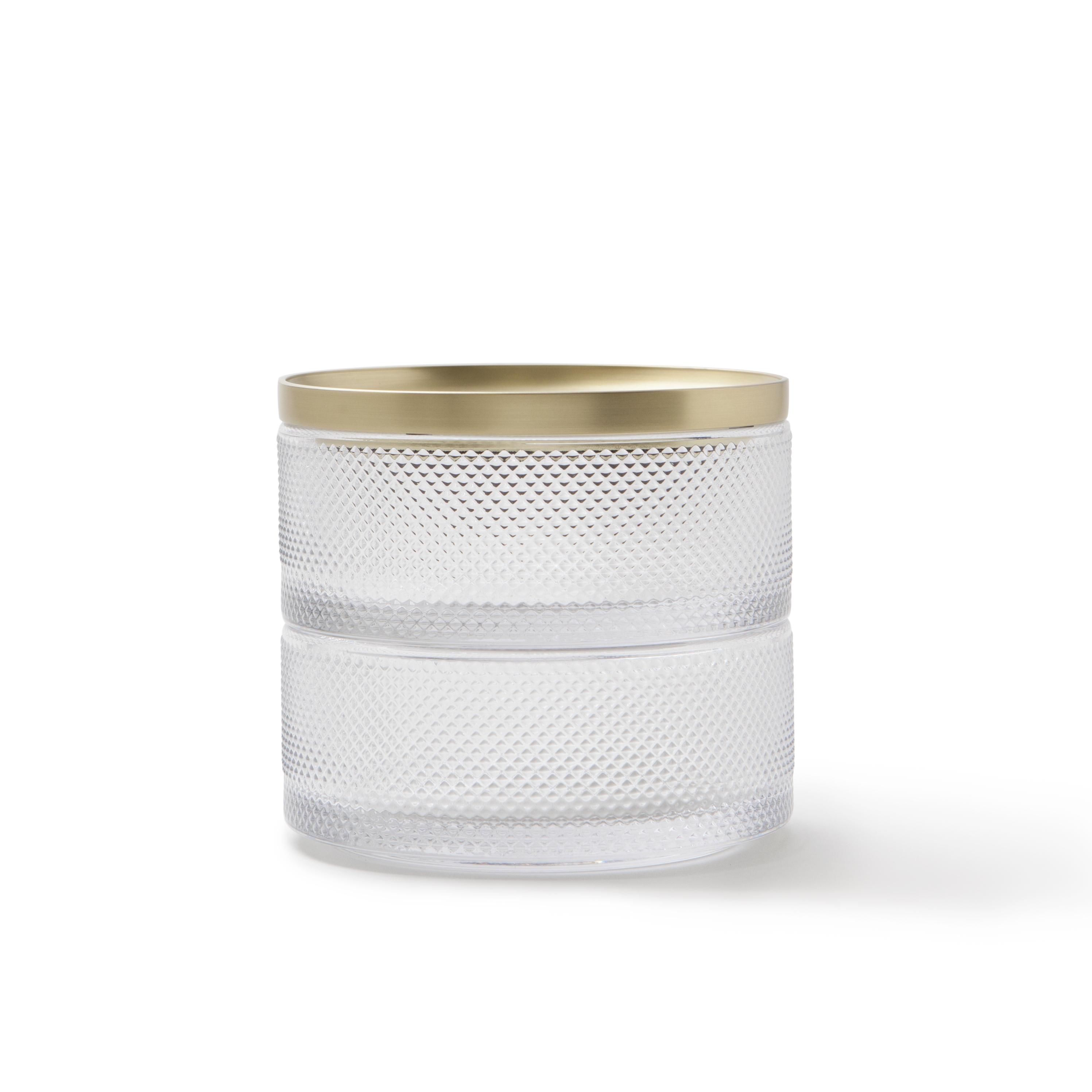 Boîte à bijoux 2 compartiments en verre et laiton