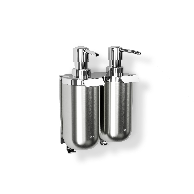 Jeux de 2 pompes 380ml pour savon liquide avec fixation murale nickel