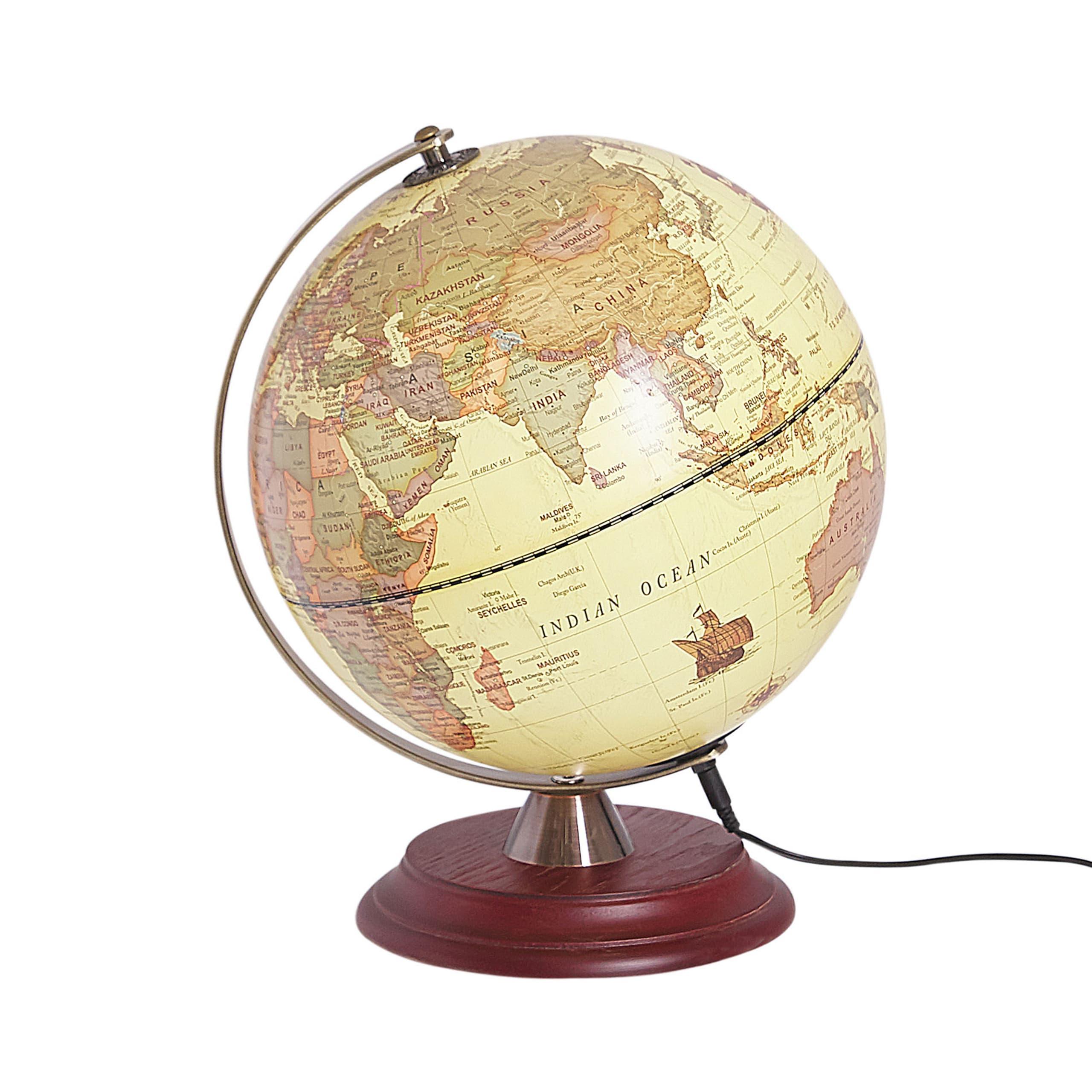 Globe terrestre jaune avec LED D25