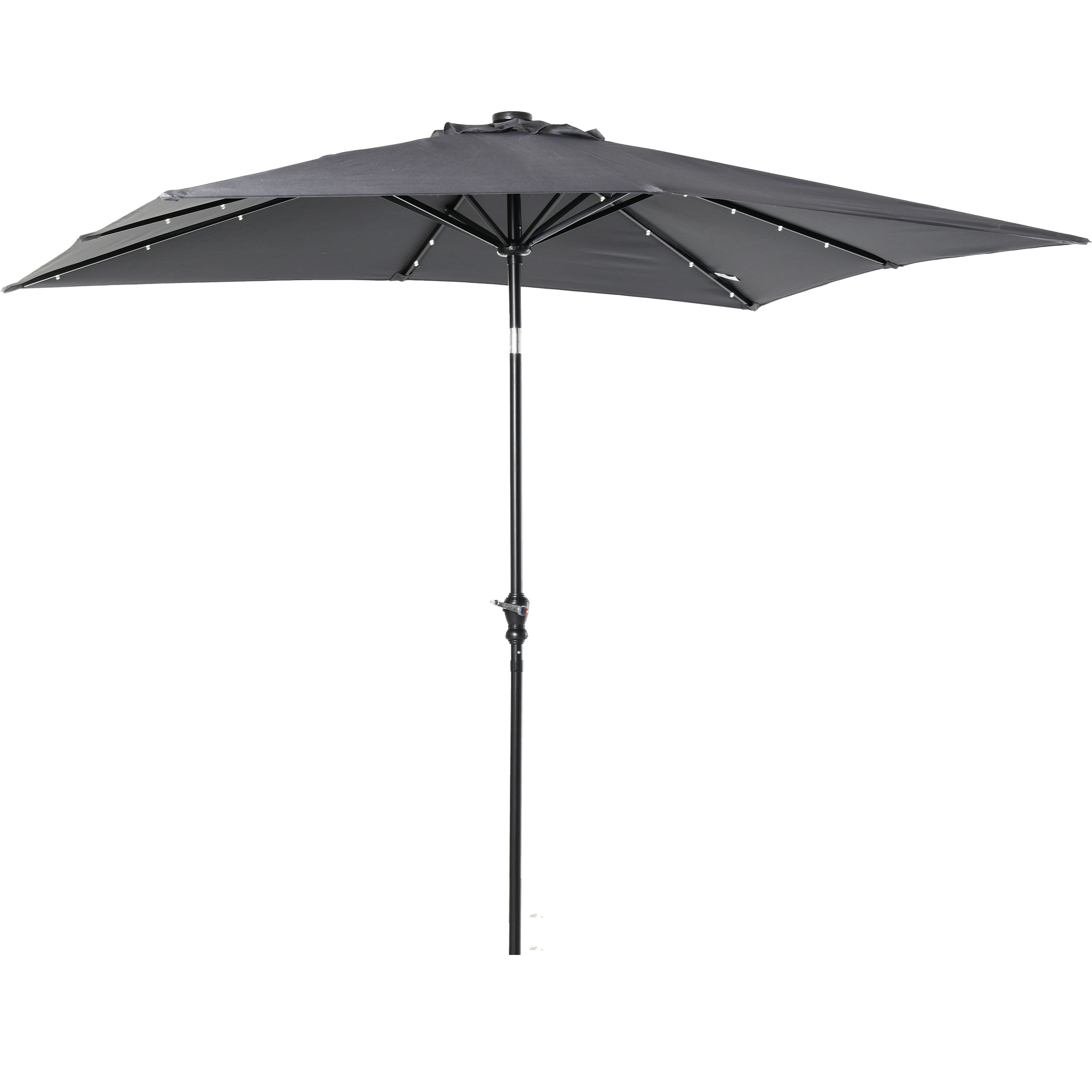 Parasol lumineux rectangulaire inclinable gris