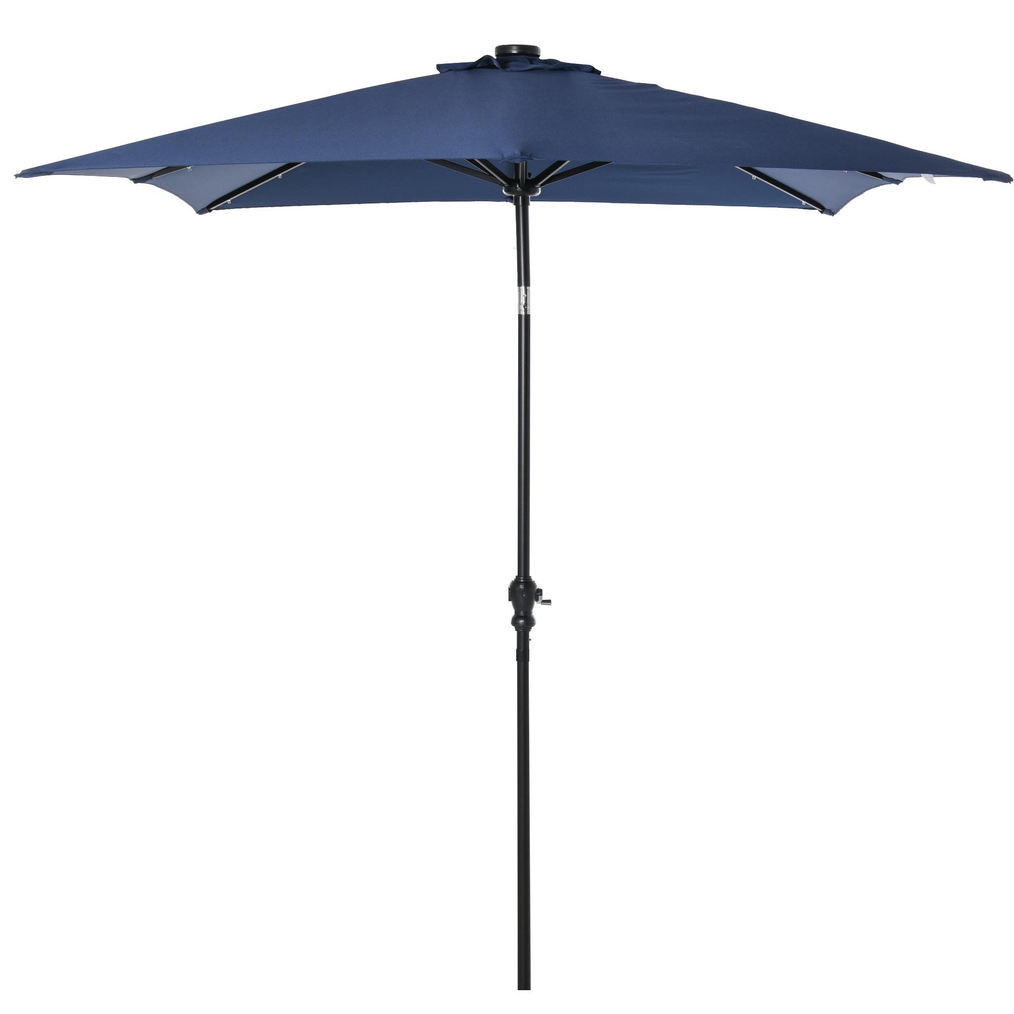 Parasol lumineux rectangulaire inclinable bleu