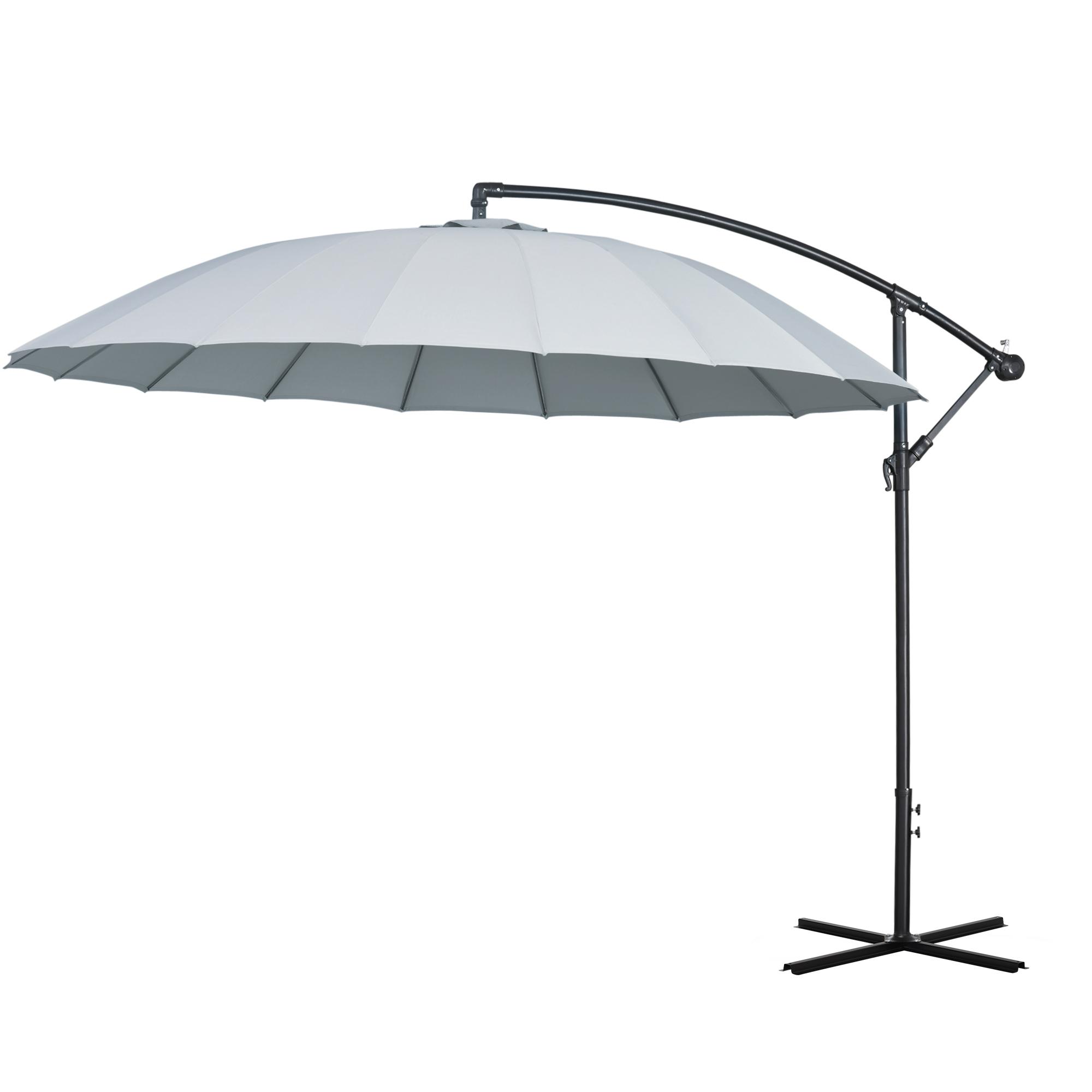Parasol déporté rond inclinable gris