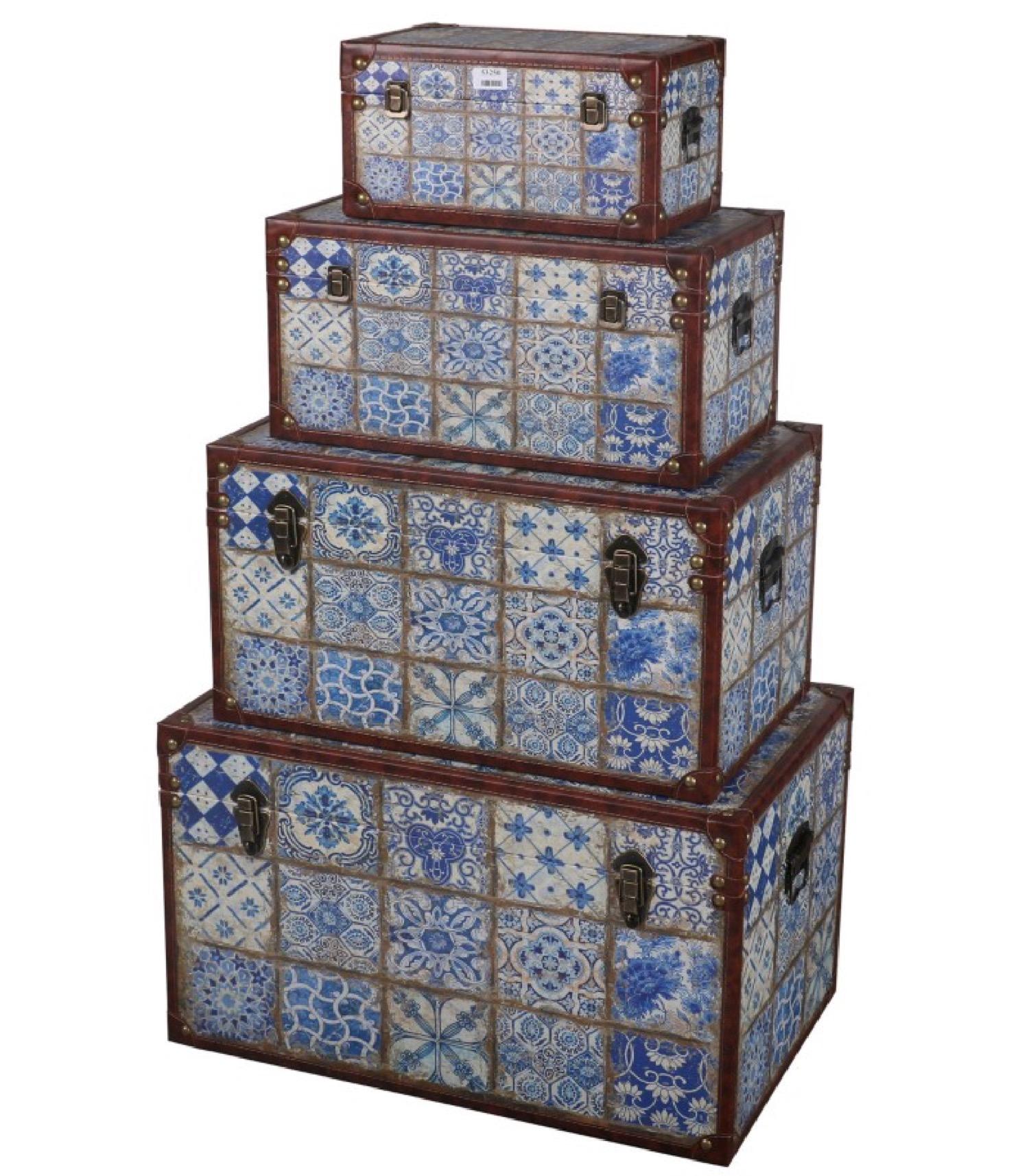 Set de 4 malles de rangement similicuir carreaux de ciment