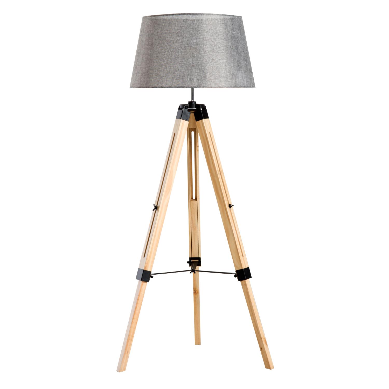 Lampadaire trépied en bois hauteur réglable 99-143 cm gris