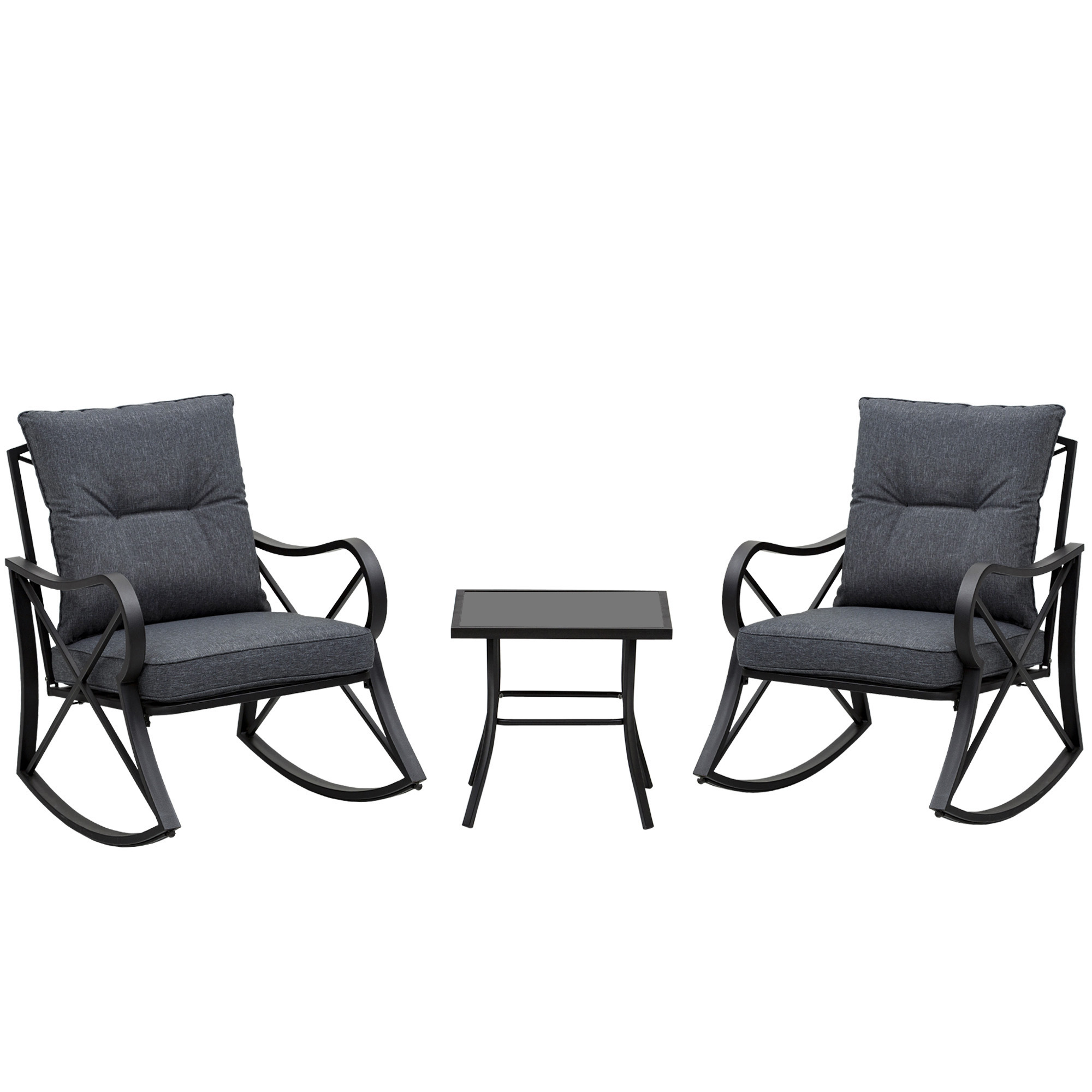 Ensemble de jardin 3 pièces acier époxy noir polyester gris