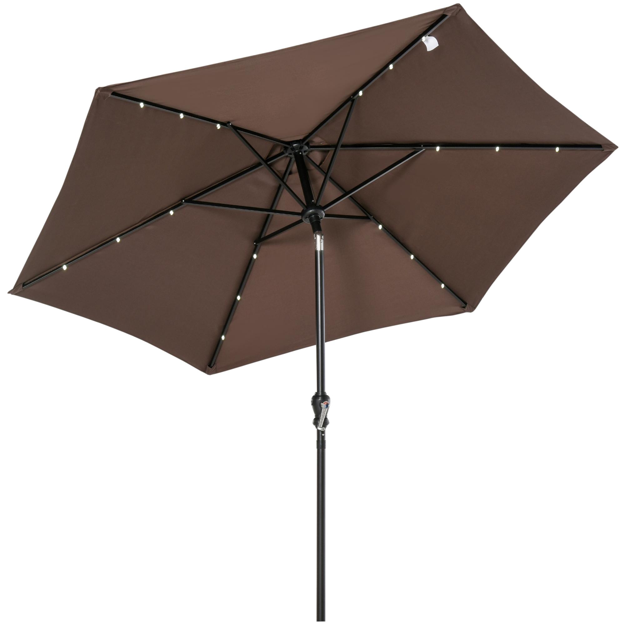 Parasol lumineux hexagonal inclinable parasol LED chocolat
