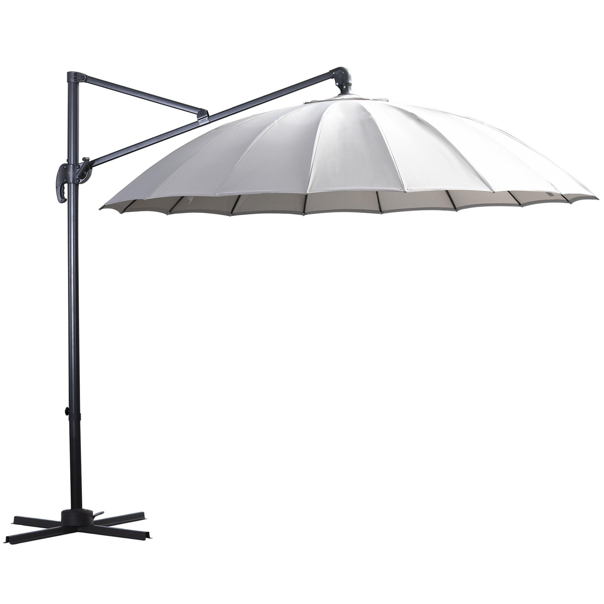 Parasol déporté rond inclinable rotatif 360° gris